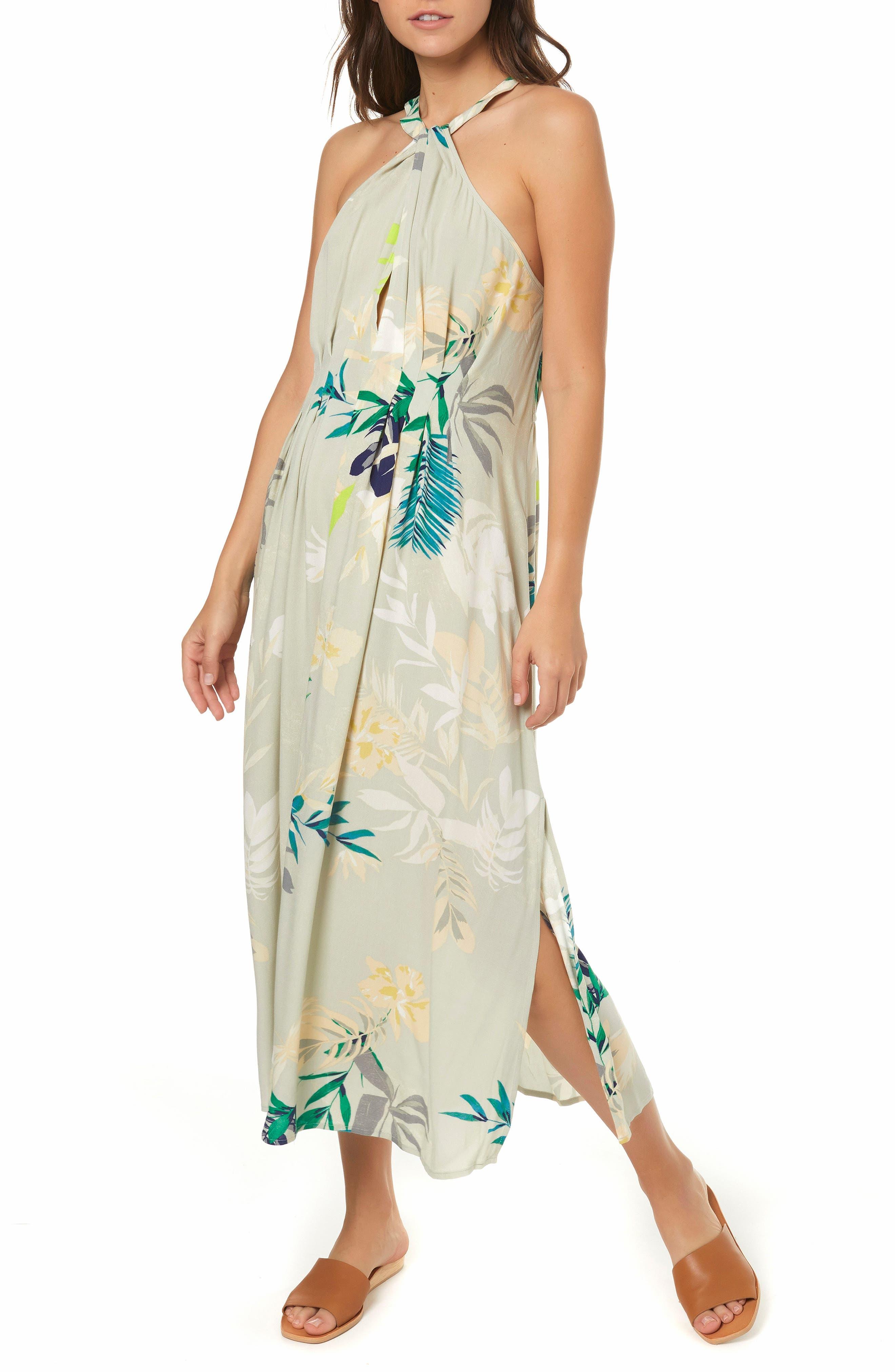 Byronne Floral Print Woven Midi Dress,                             Main thumbnail 1, color,                             MULTI COLORED