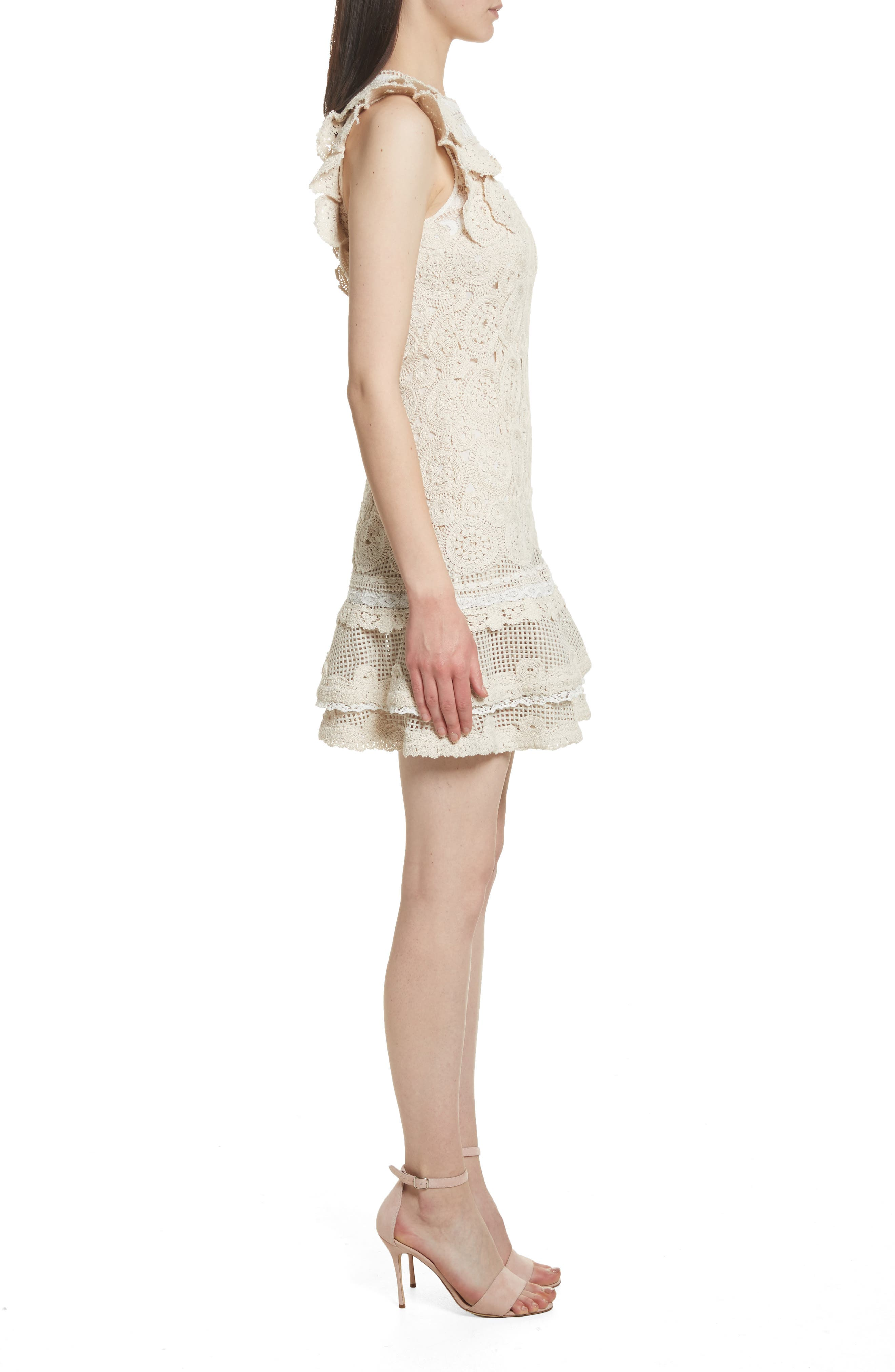 Ruffle Hem Macramé Dress,                             Alternate thumbnail 3, color,                             901