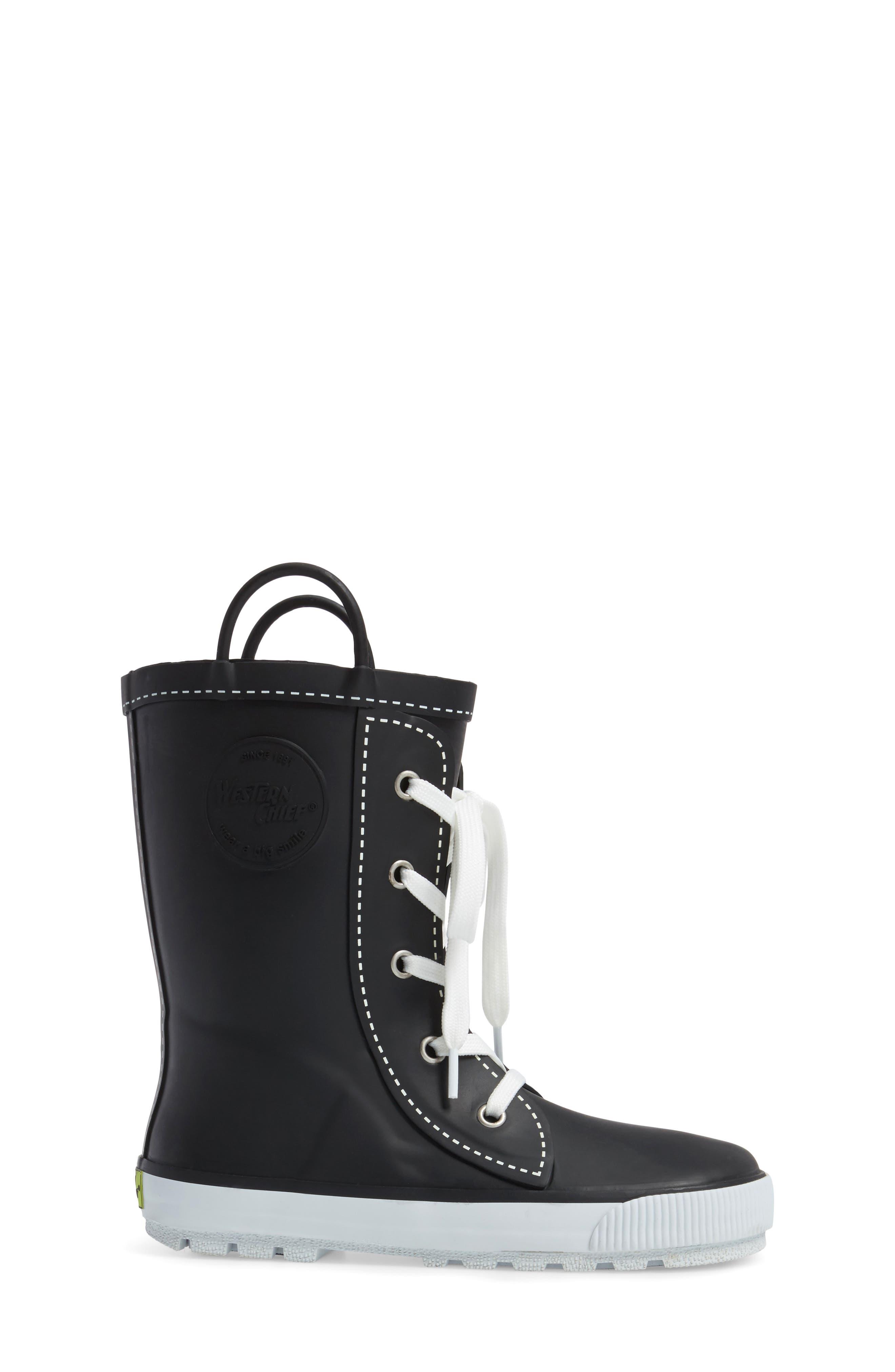 Waterproof Sneaker Rain Boot,                             Alternate thumbnail 3, color,                             001