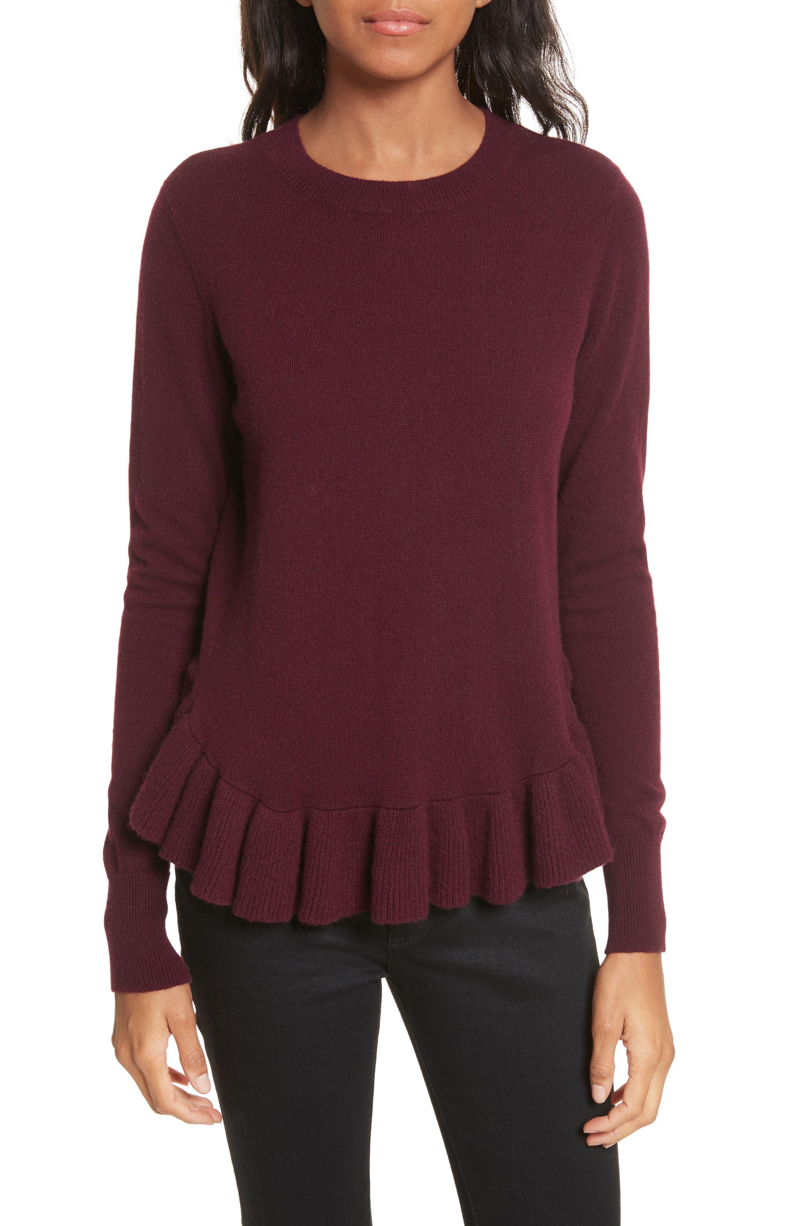 Ruffle Hem Crewneck Sweater,                             Main thumbnail 1, color,