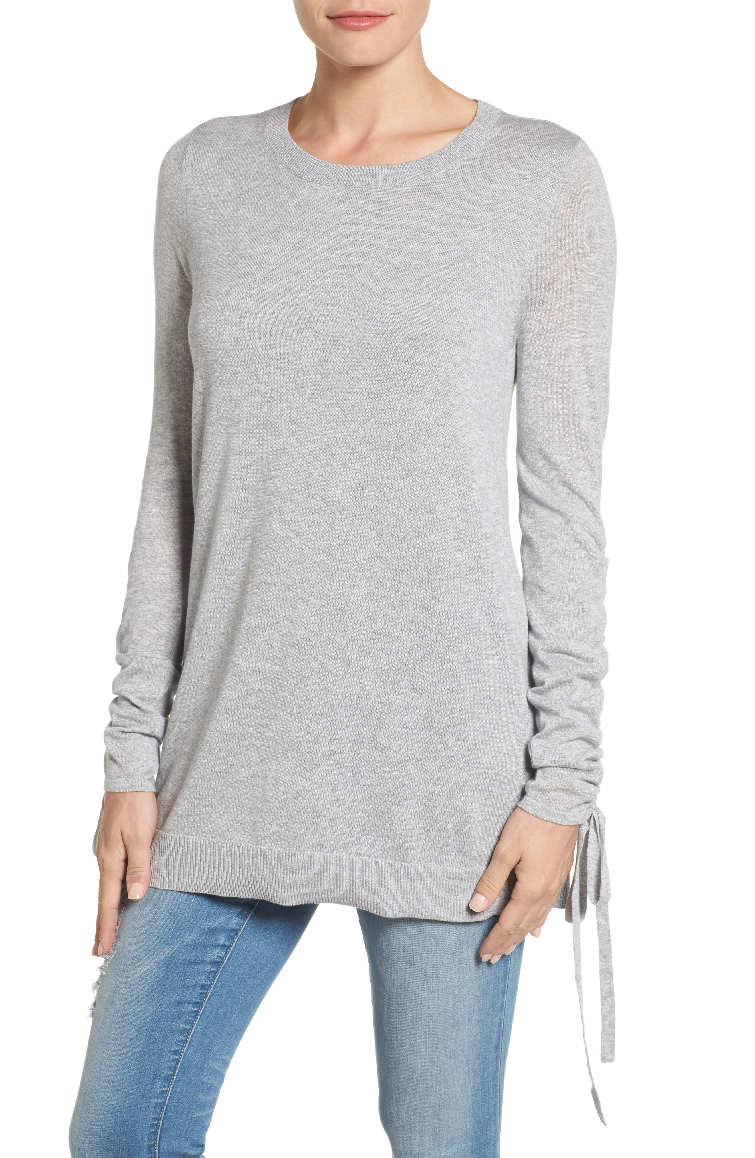 Ruched Sleeve Tunic Sweater,                             Main thumbnail 2, color,