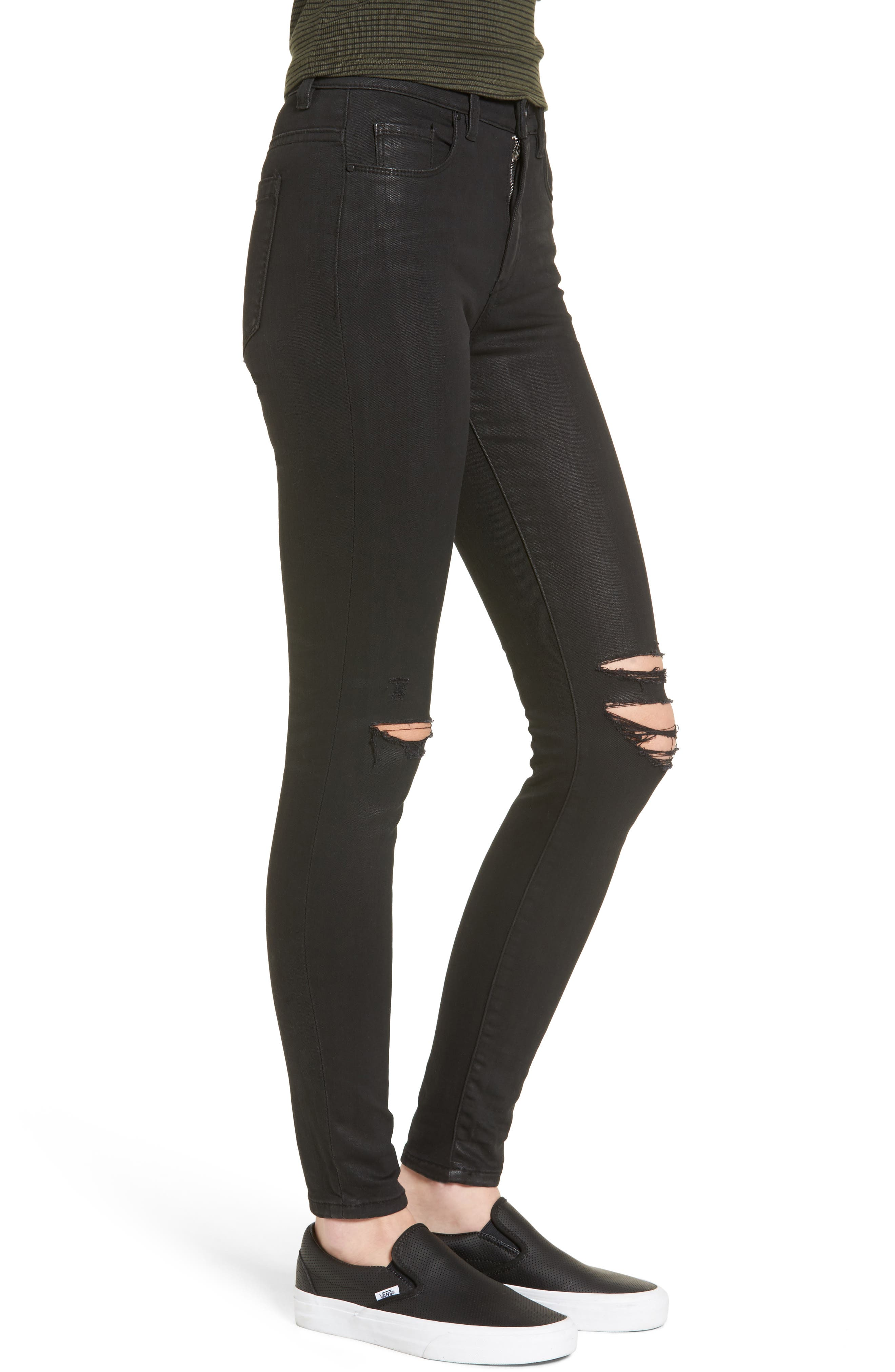 'All Lacquered Up' Coated Skinny Jeans,                             Alternate thumbnail 3, color,                             001