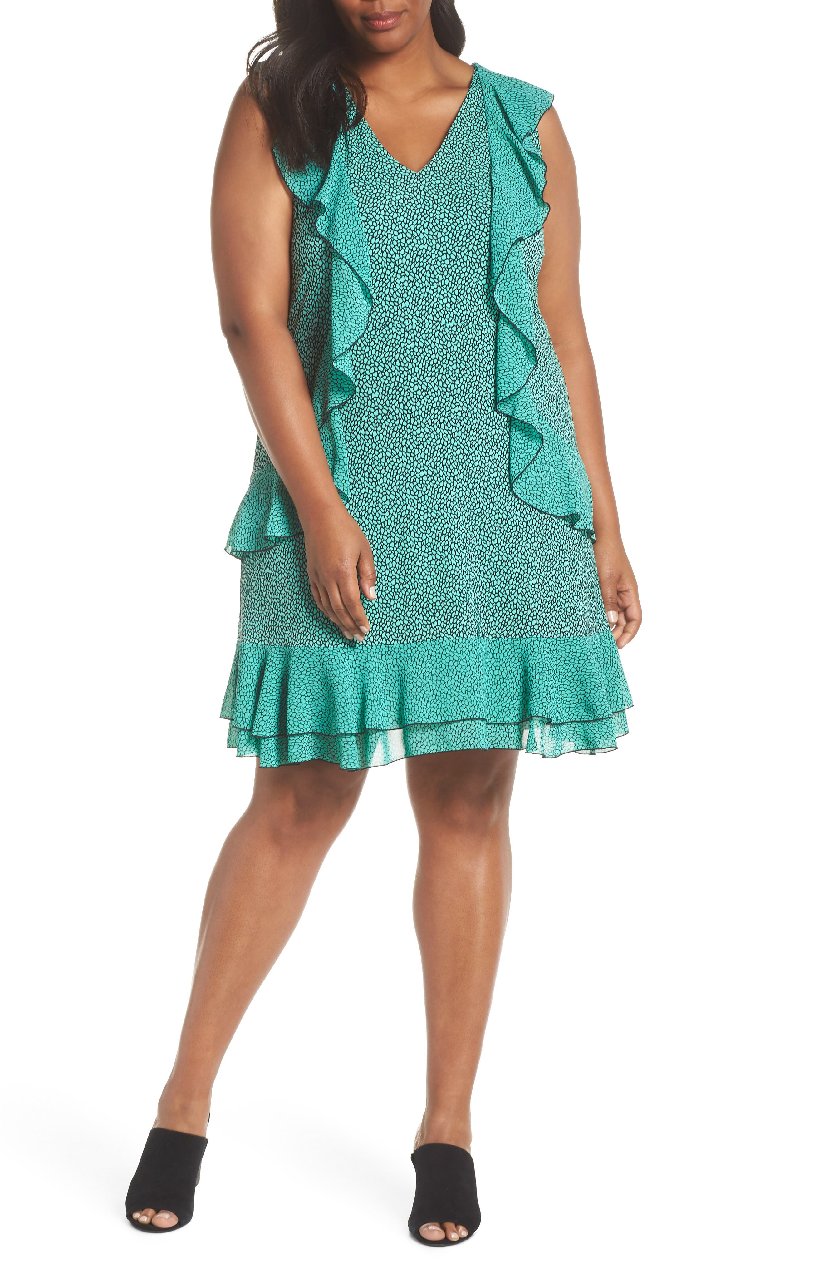 Cascade Ruffle Dress,                         Main,                         color, AQUA/ BLACK