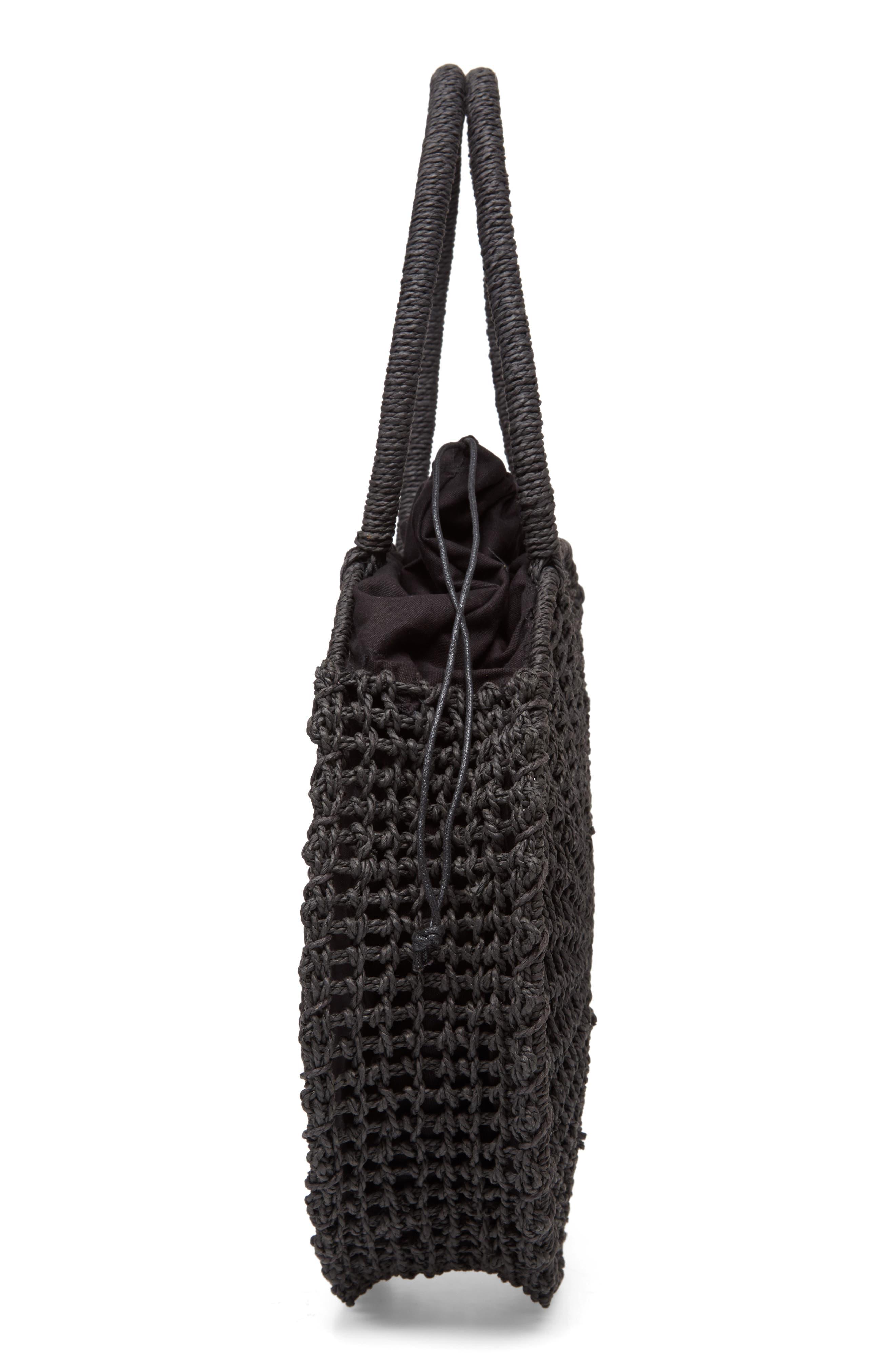 Bella Straw Circle Tote Handbag,                             Alternate thumbnail 5, color,                             BLACK