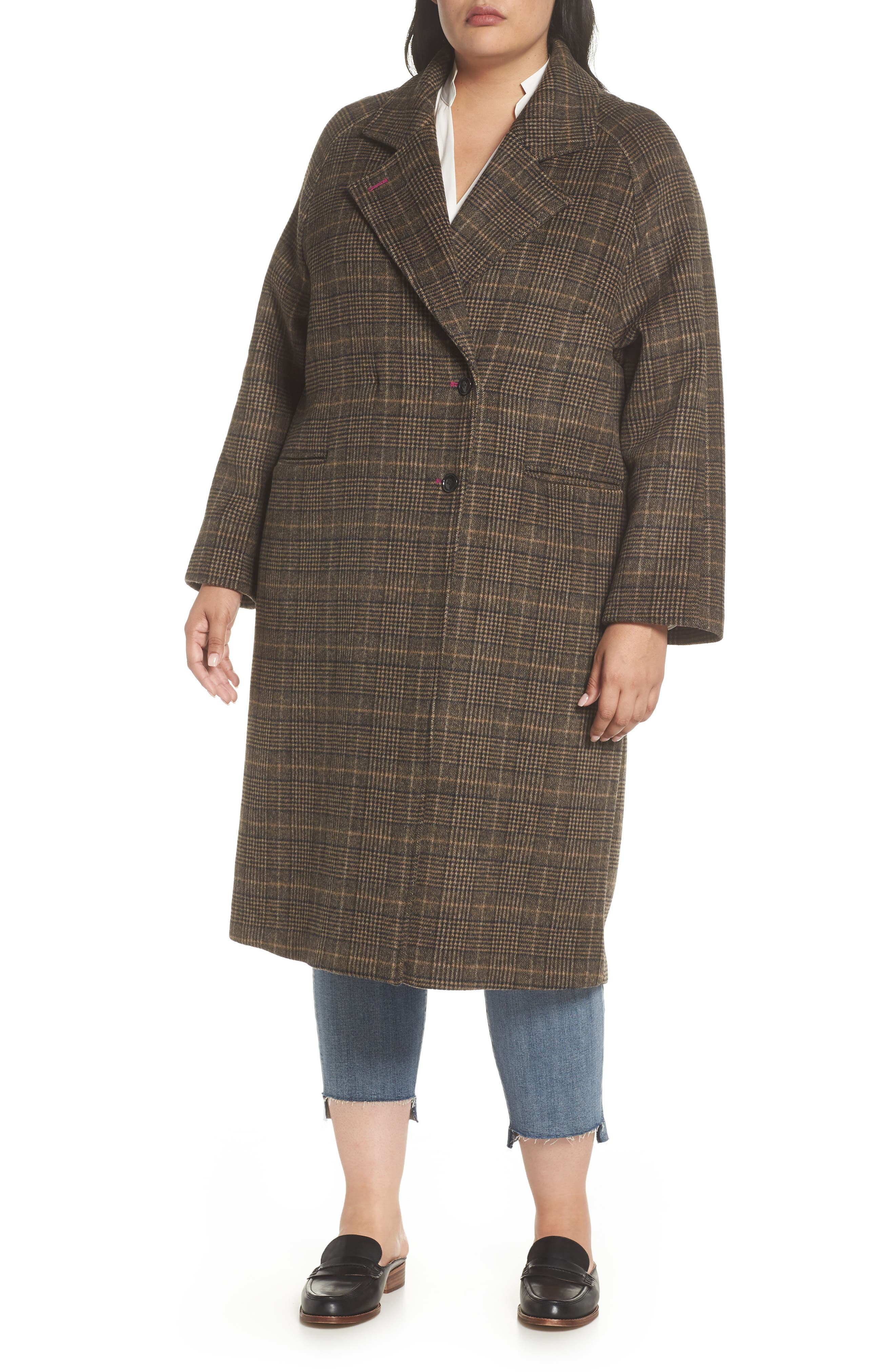 Double Face Plaid Wool Blend Coat,                             Alternate thumbnail 4, color,                             218