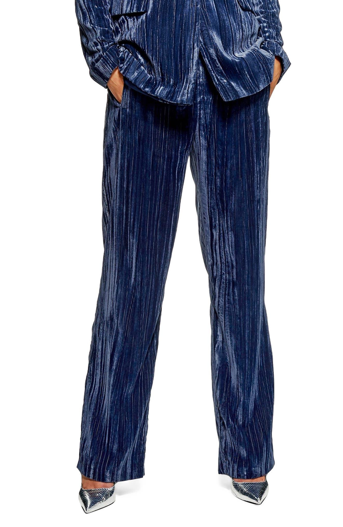 Crinkled Velvet Trousers,                         Main,                         color, PETROL
