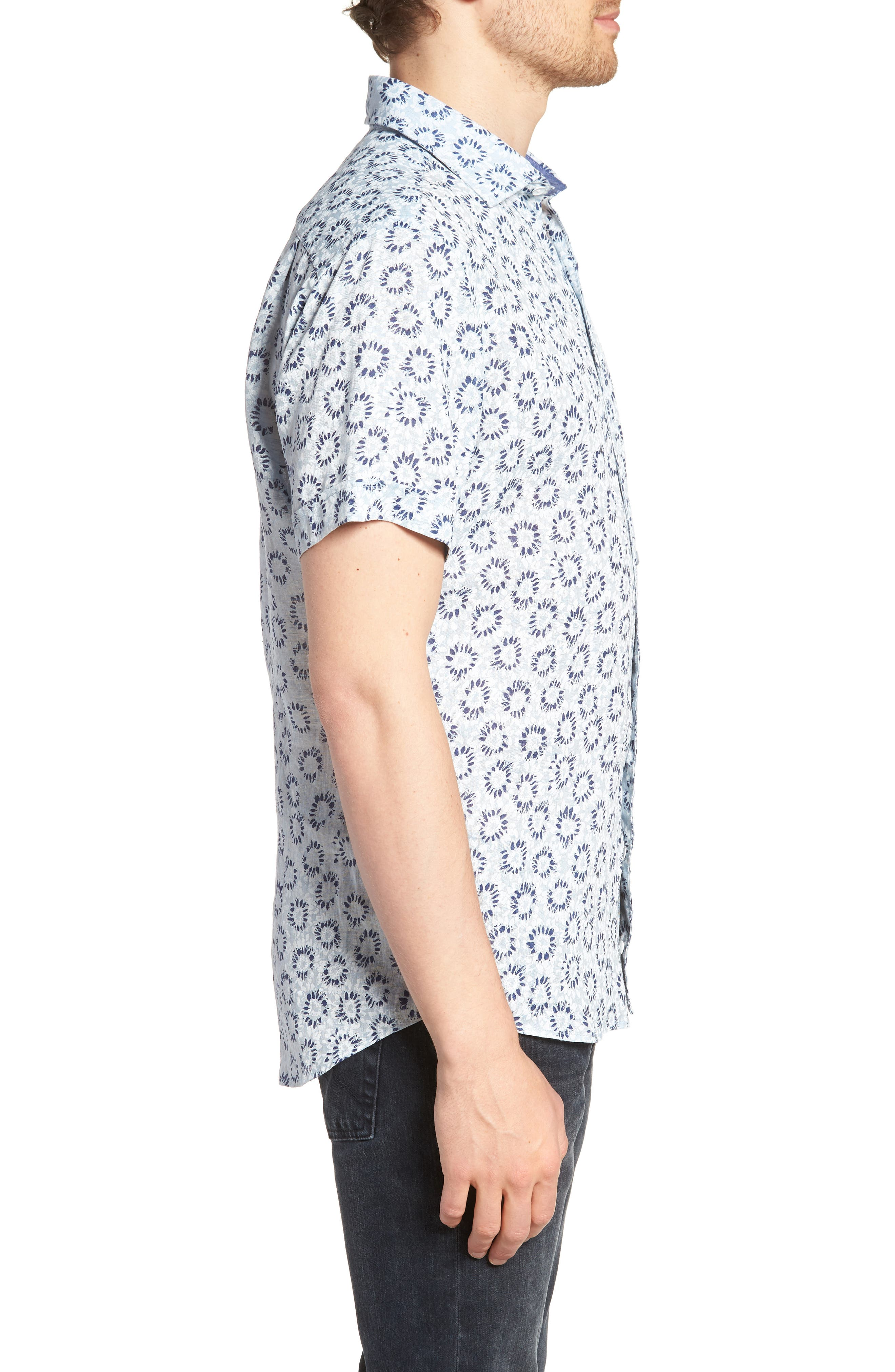 Alford Forest Floral Linen Sport Shirt,                             Alternate thumbnail 3, color,                             SKY