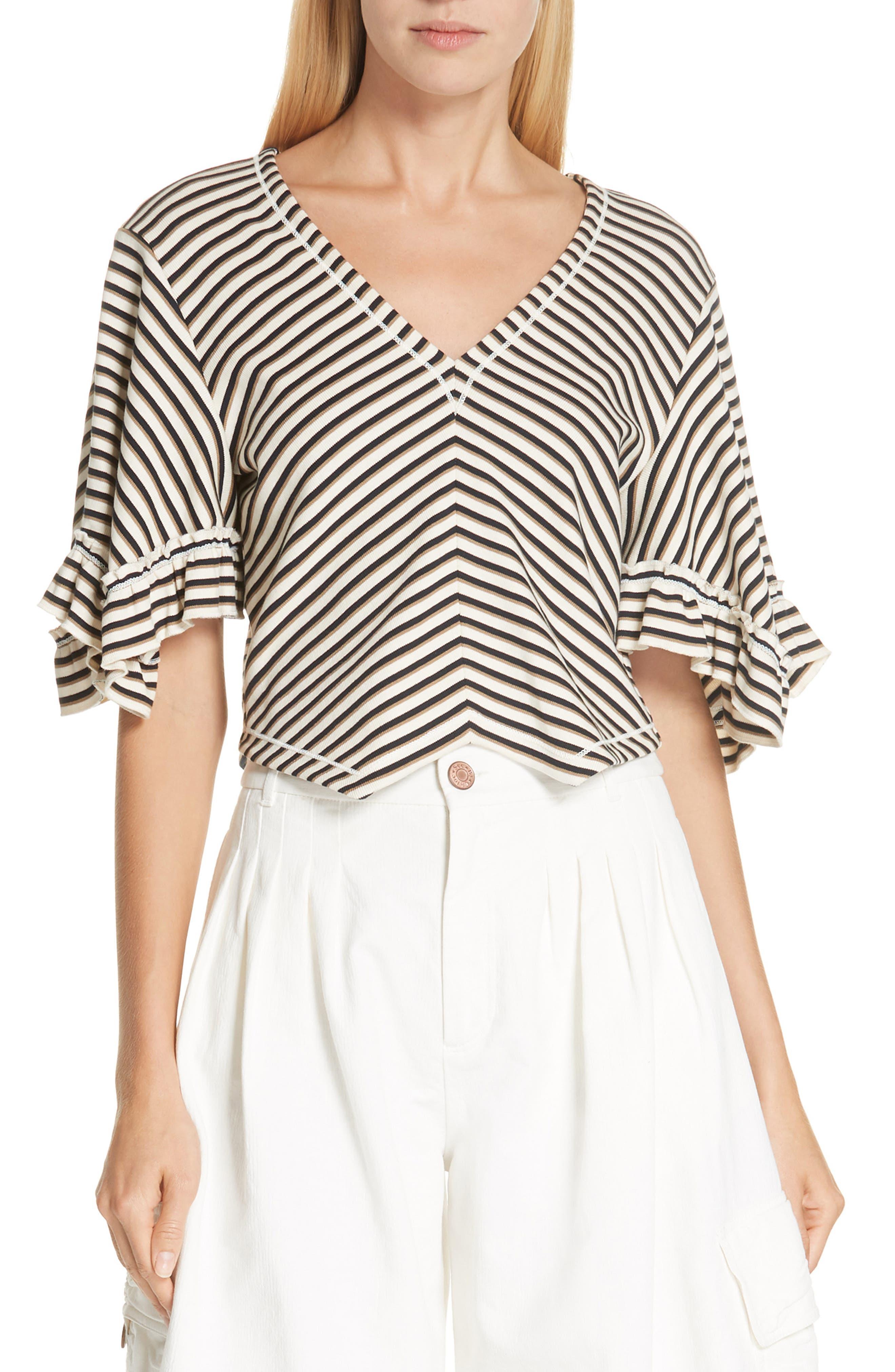 Stripe Top,                             Main thumbnail 1, color,                             WHITE - BEIGE 1