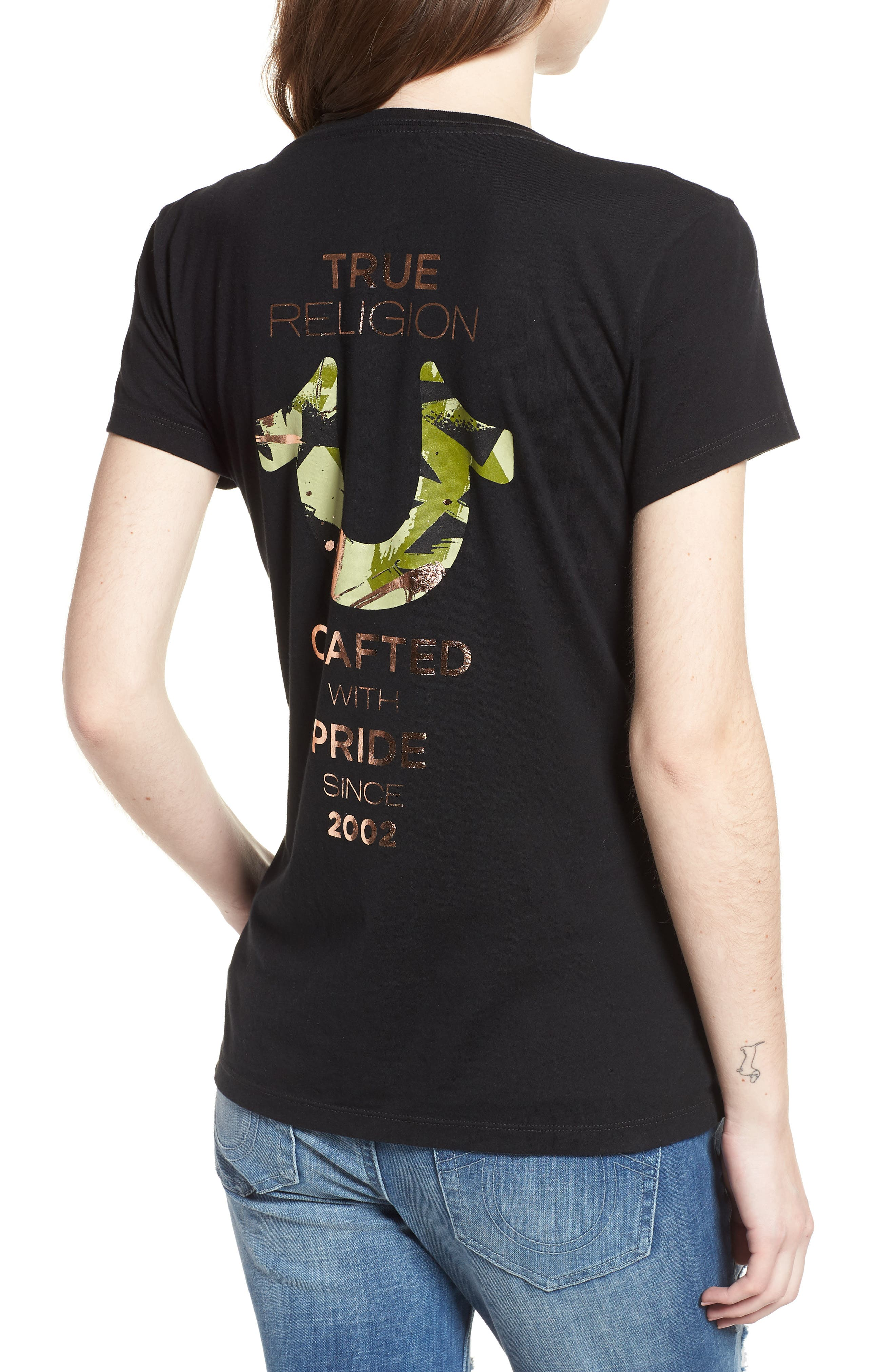 Camo Metallic V-Neck Tee,                             Alternate thumbnail 2, color,