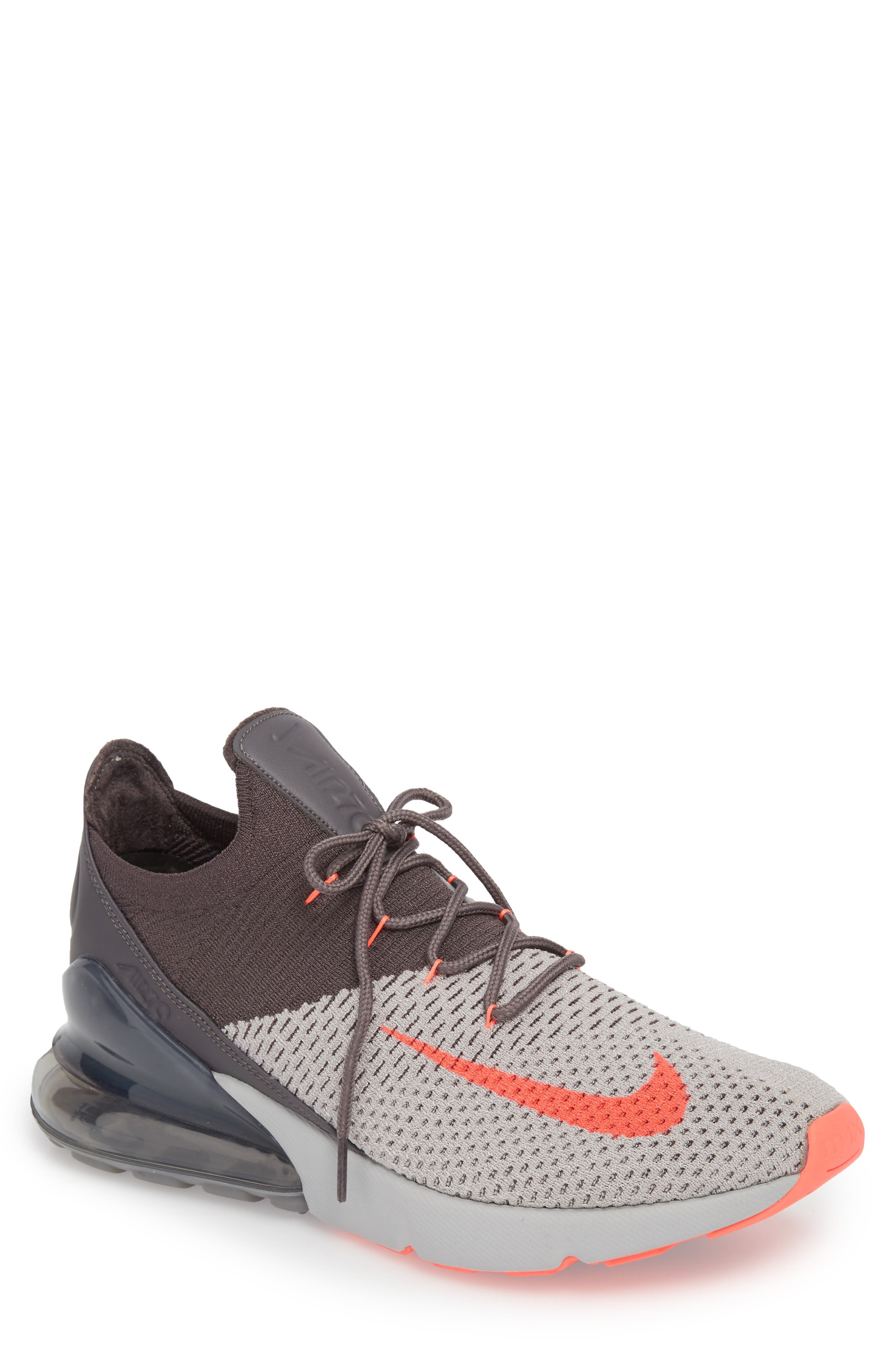 Air Max 270 Flyknit Sneaker,                             Main thumbnail 1, color,                             ATMOSPHERE GREY/ HYPER PUNCH