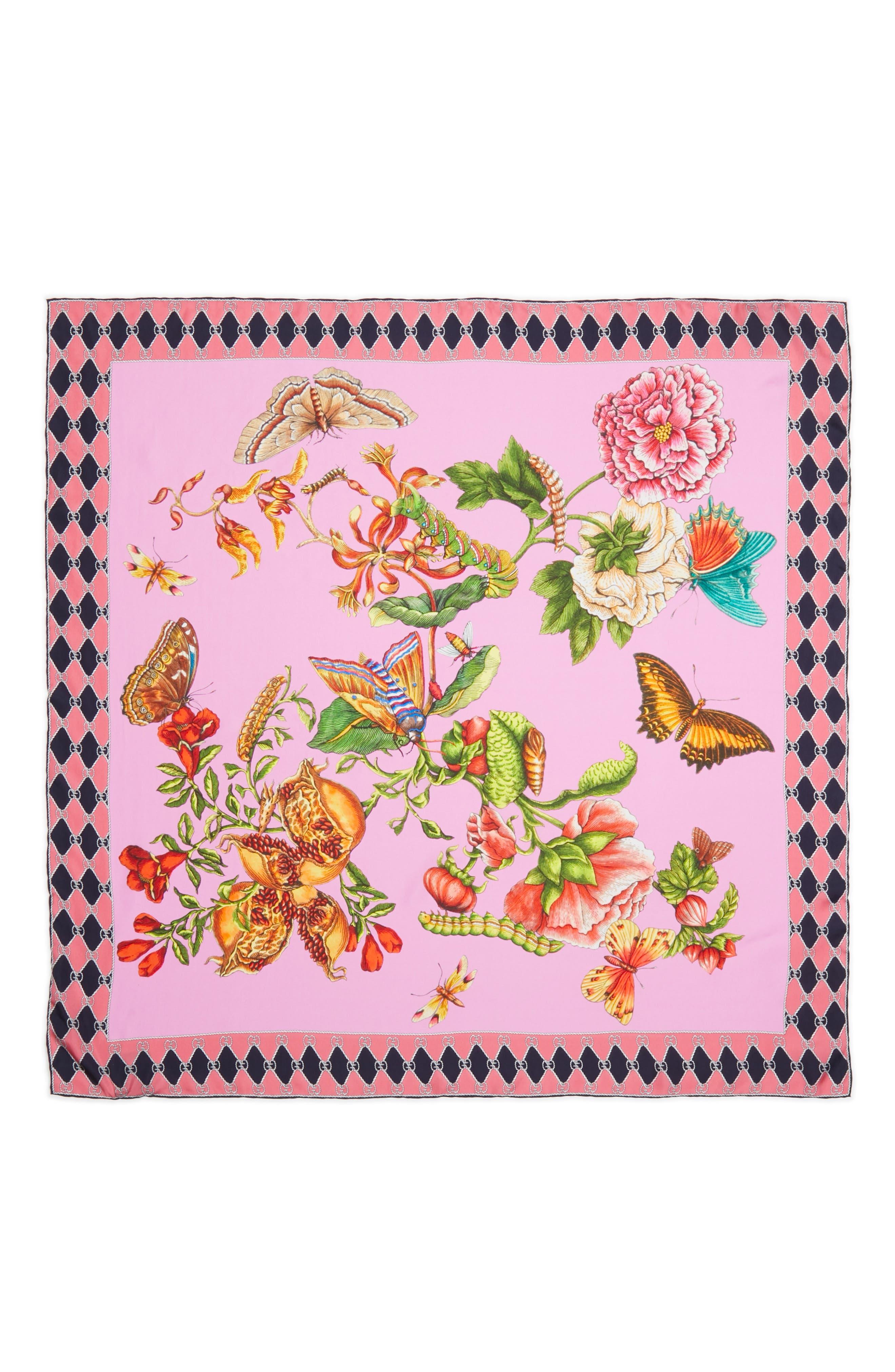 Foulard Chane Bouquet Silk Scarf,                             Alternate thumbnail 3, color,                             PINK