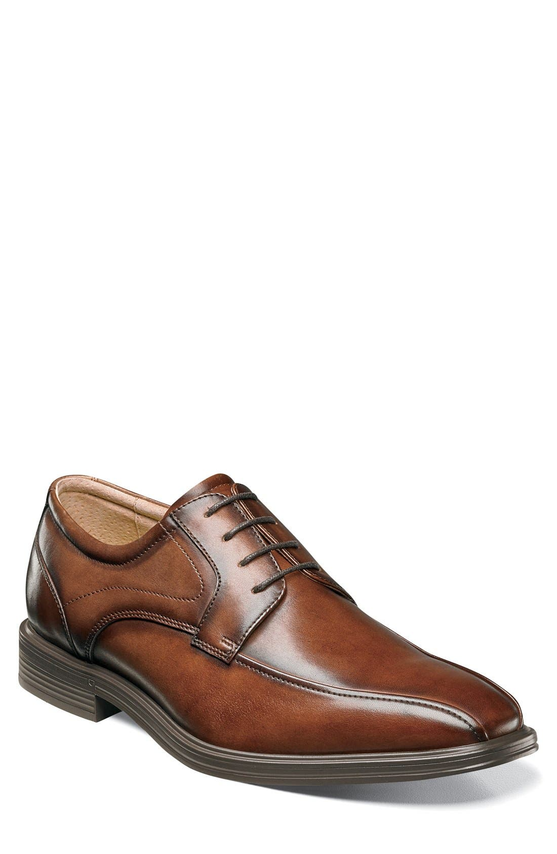 'Heights' Bike Toe Derby,                             Main thumbnail 1, color,                             COGNAC LEATHER