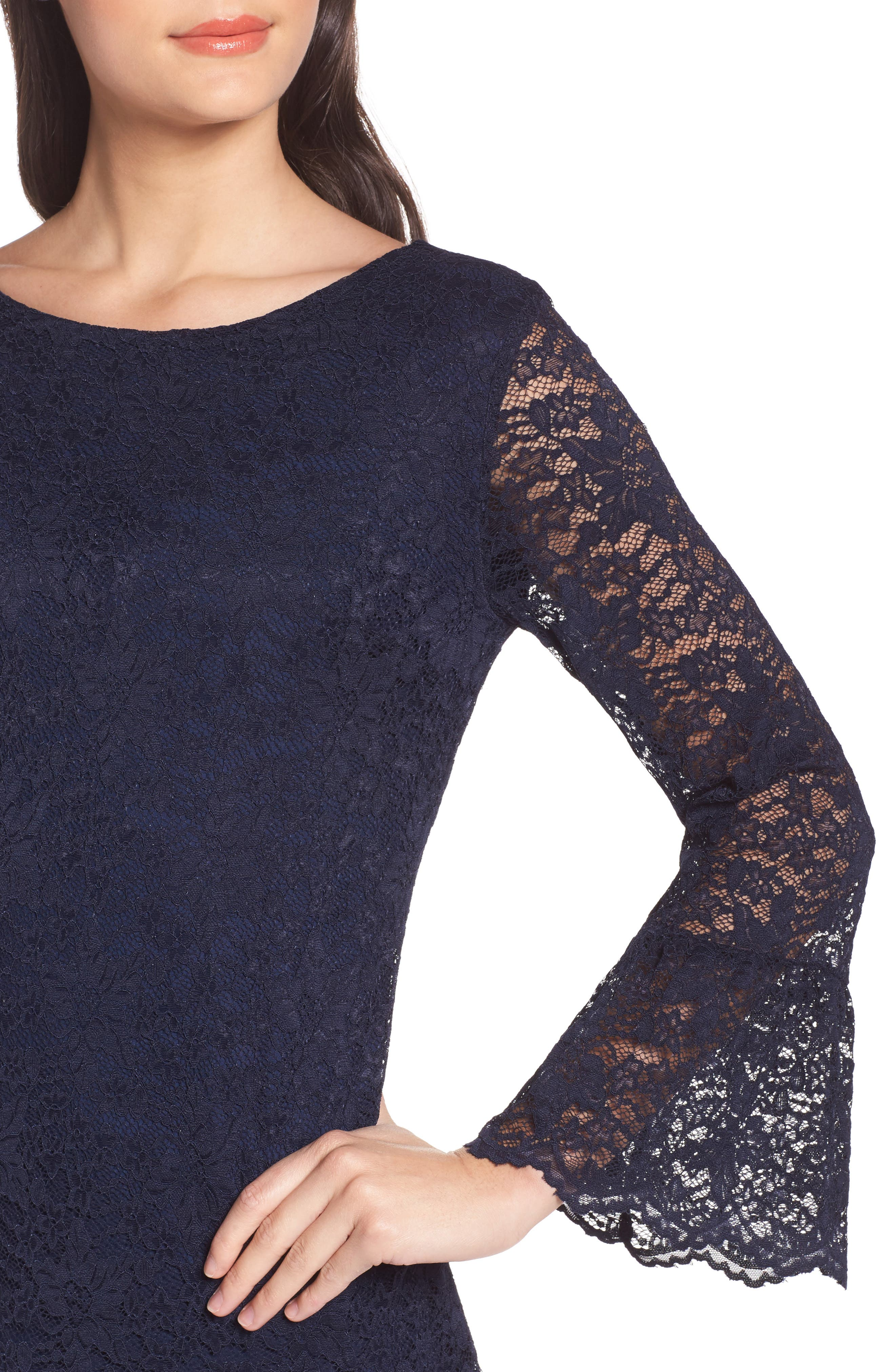 Lace Bell Sleeve Shift Dress,                             Alternate thumbnail 4, color,                             410