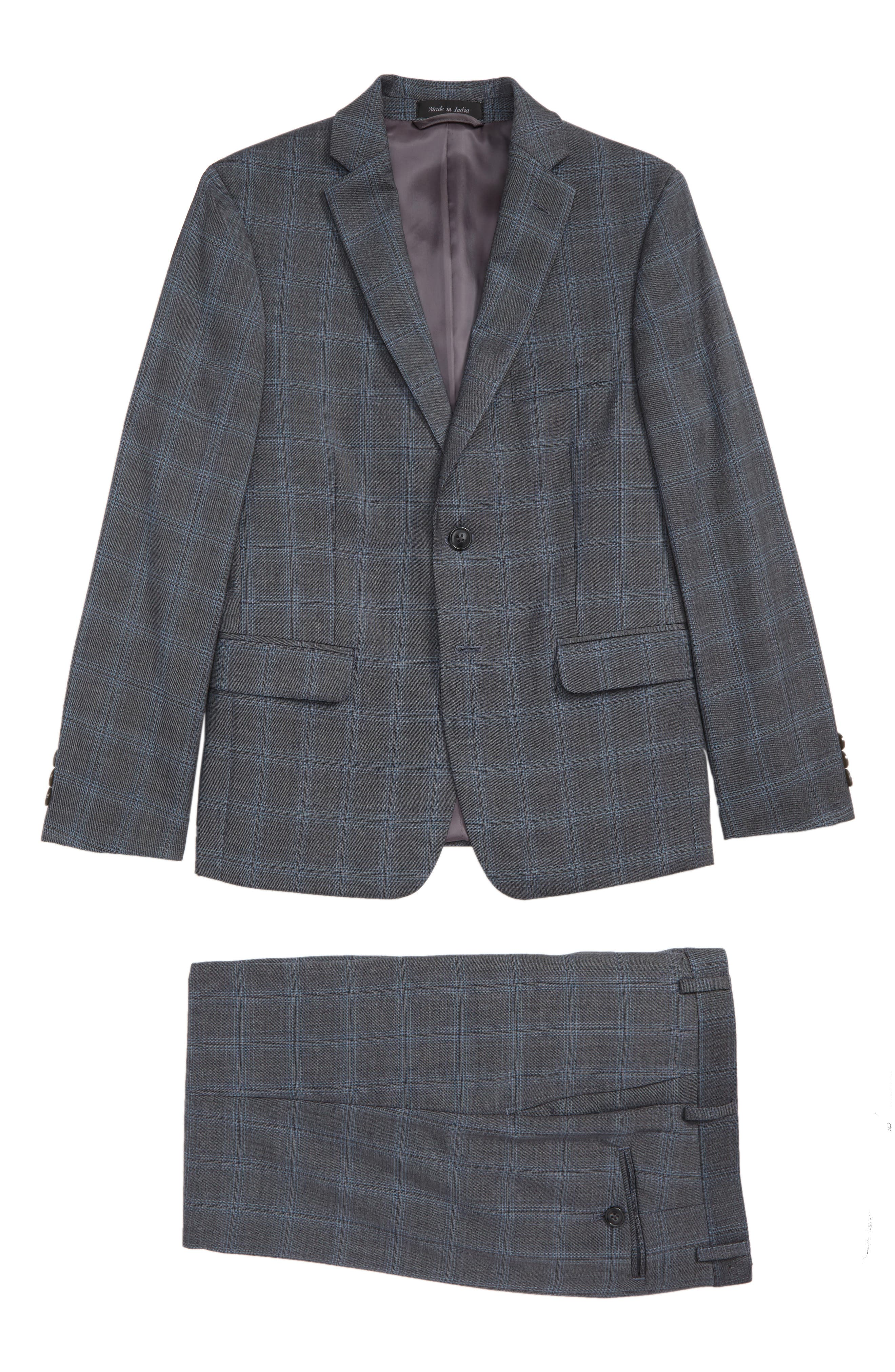 Windowpane Check Stretch Wool Suit,                         Main,                         color, MEDIUM GREY
