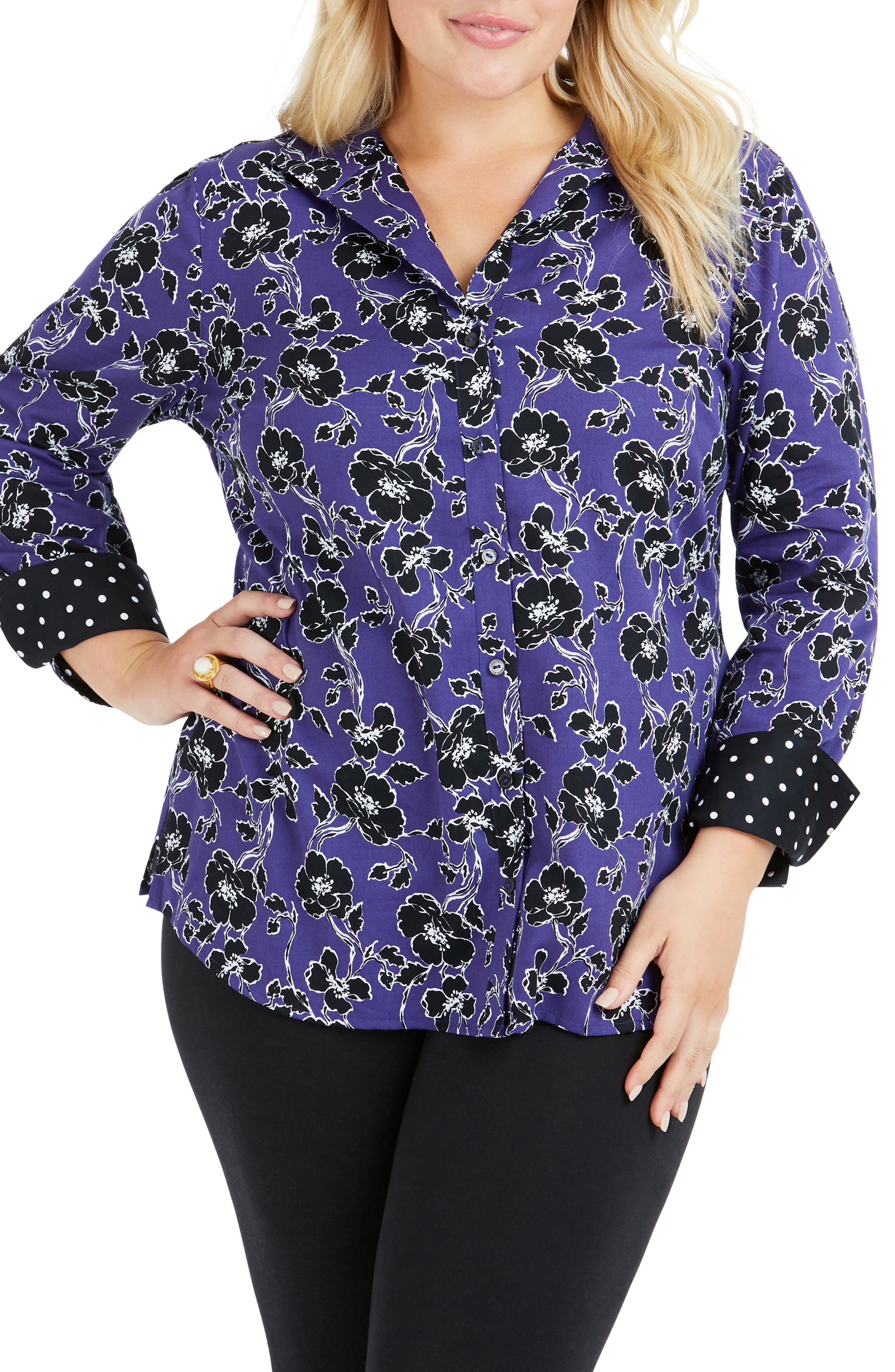 Rhonda Holiday Floral Shirt,                             Main thumbnail 1, color,                             REGAL PURPLE