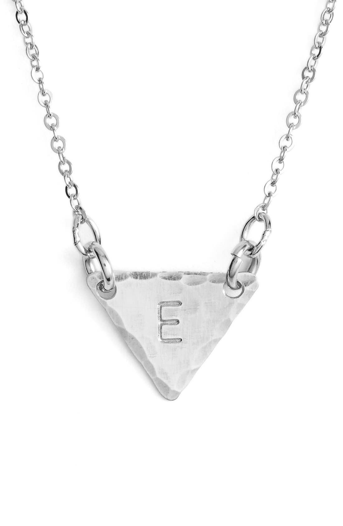 Sterling Silver Initial Mini Triangle Necklace,                             Main thumbnail 5, color,