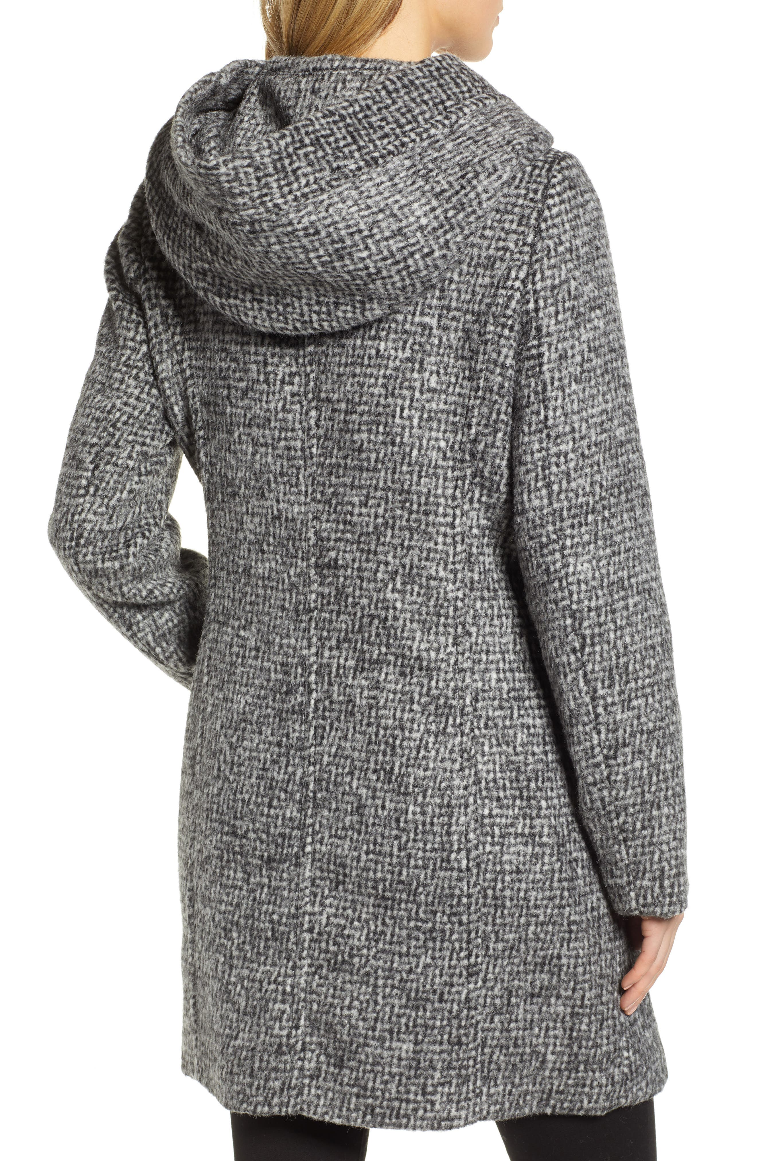Fuzzy Houndstooth Coat,                             Alternate thumbnail 2, color,                             BLACK/ WHITE