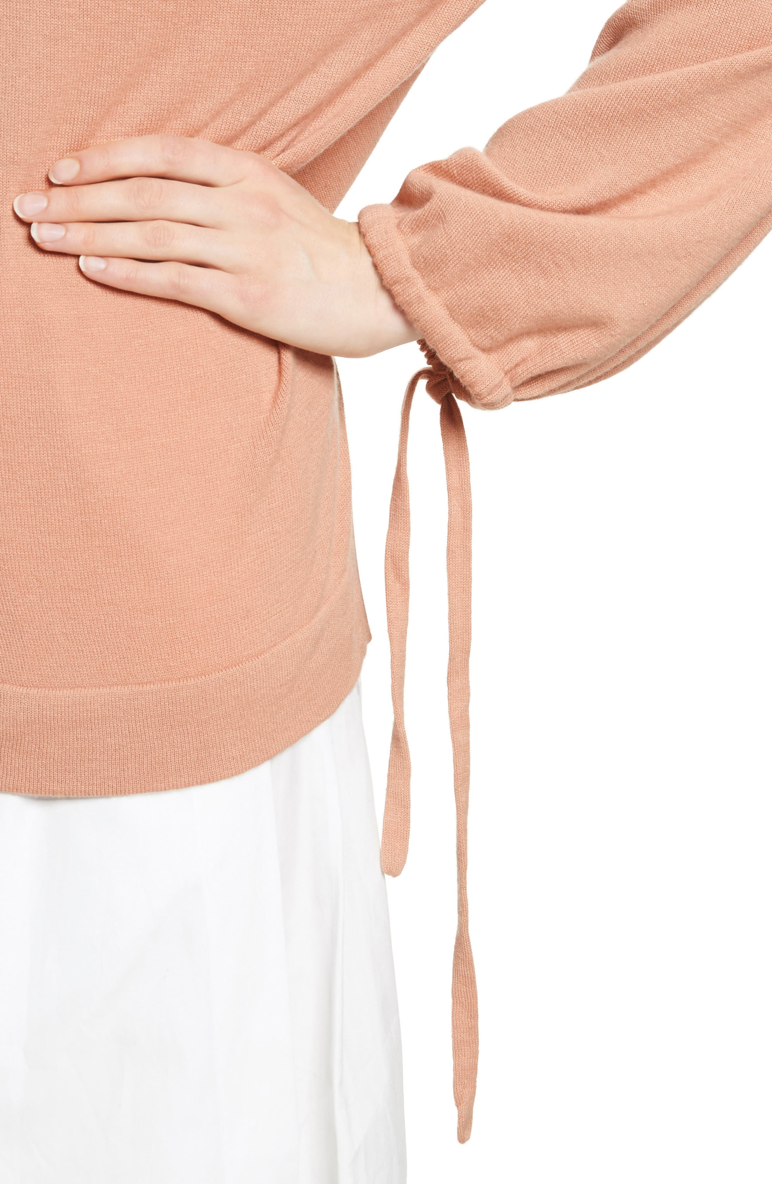 Scrunch Sleeve Cashmere Sweater,                             Alternate thumbnail 8, color,