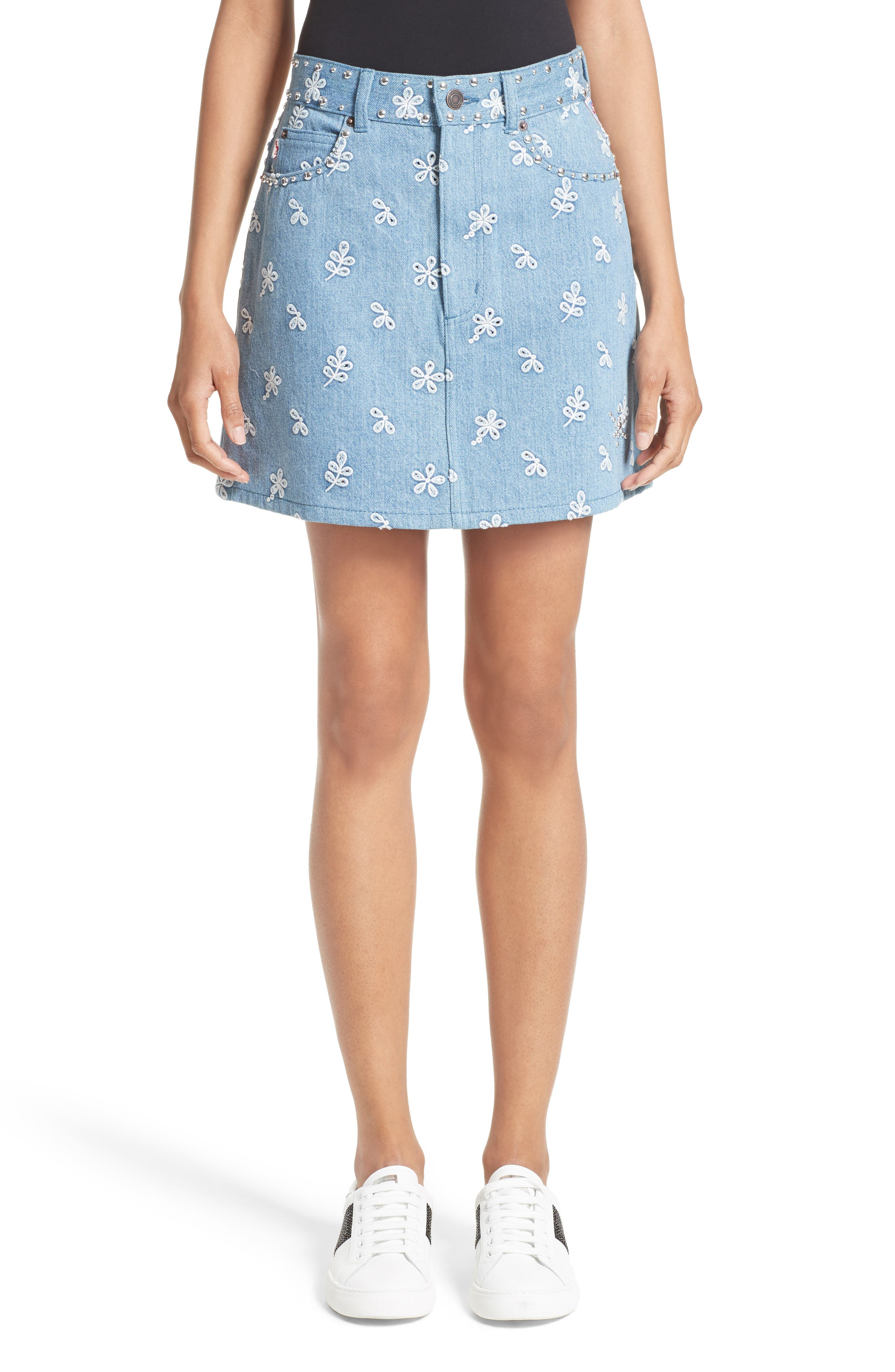 Broderie Anglaise Denim Miniskirt,                             Main thumbnail 1, color,                             400