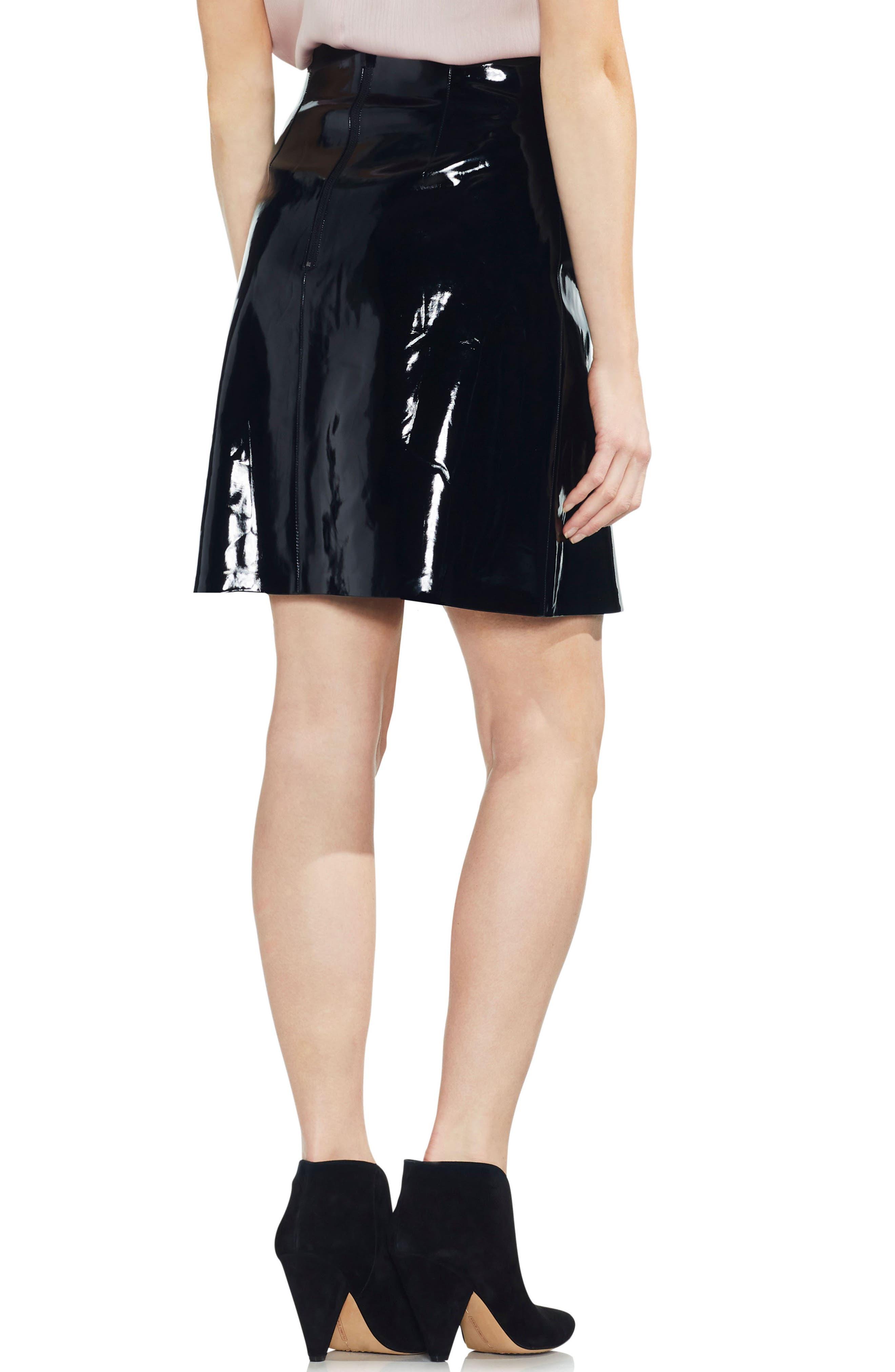 Faux Patent Leather Skirt,                             Alternate thumbnail 2, color,                             RICH BLACK
