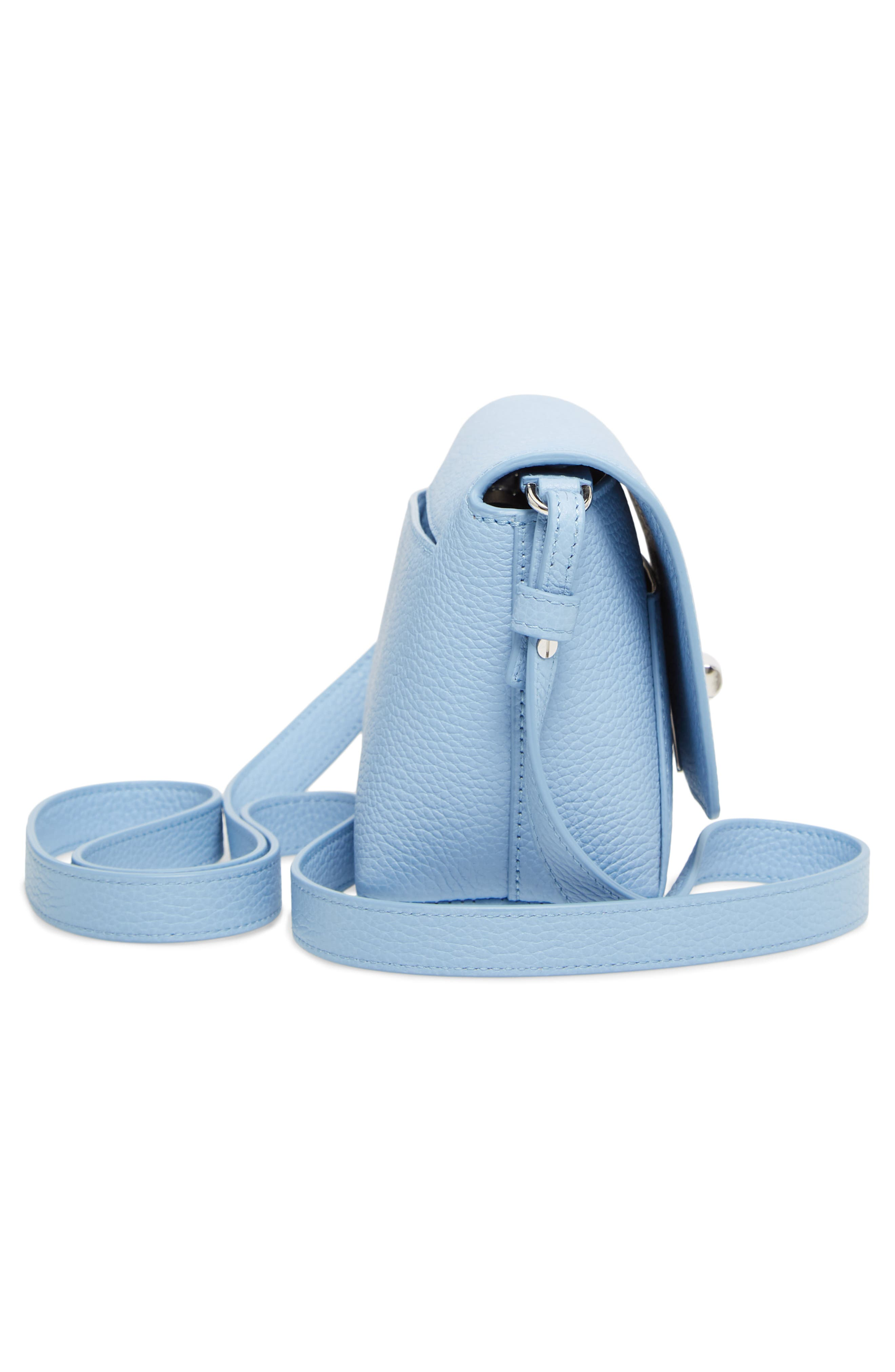 Little Anouk Calfskin Crossbody Bag,                             Alternate thumbnail 6, color,                             POWDER BLUE