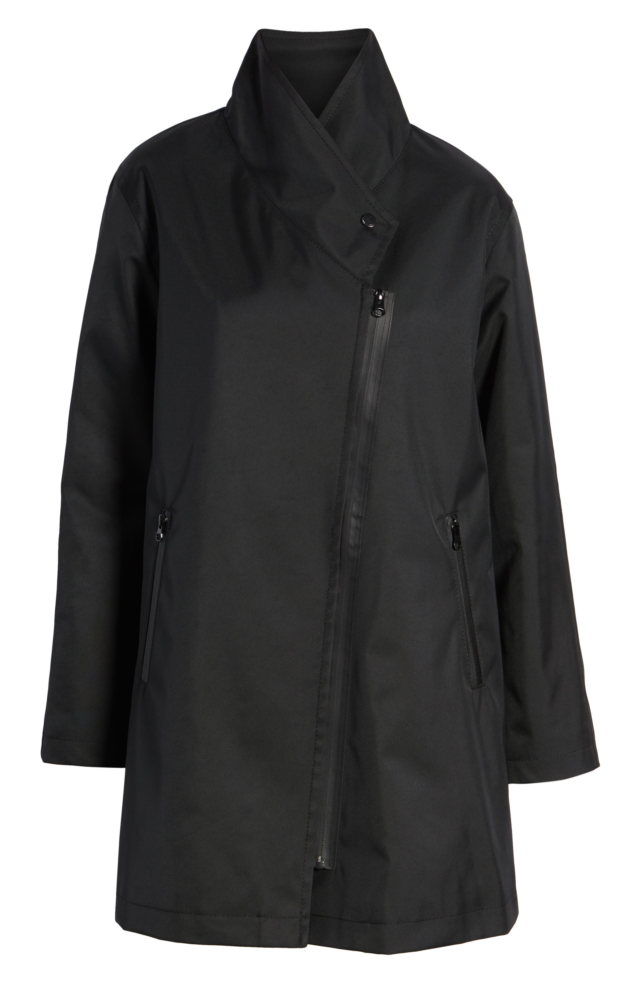 Tenley Asymmetrical Collar Coat,                             Alternate thumbnail 6, color,                             BLACK