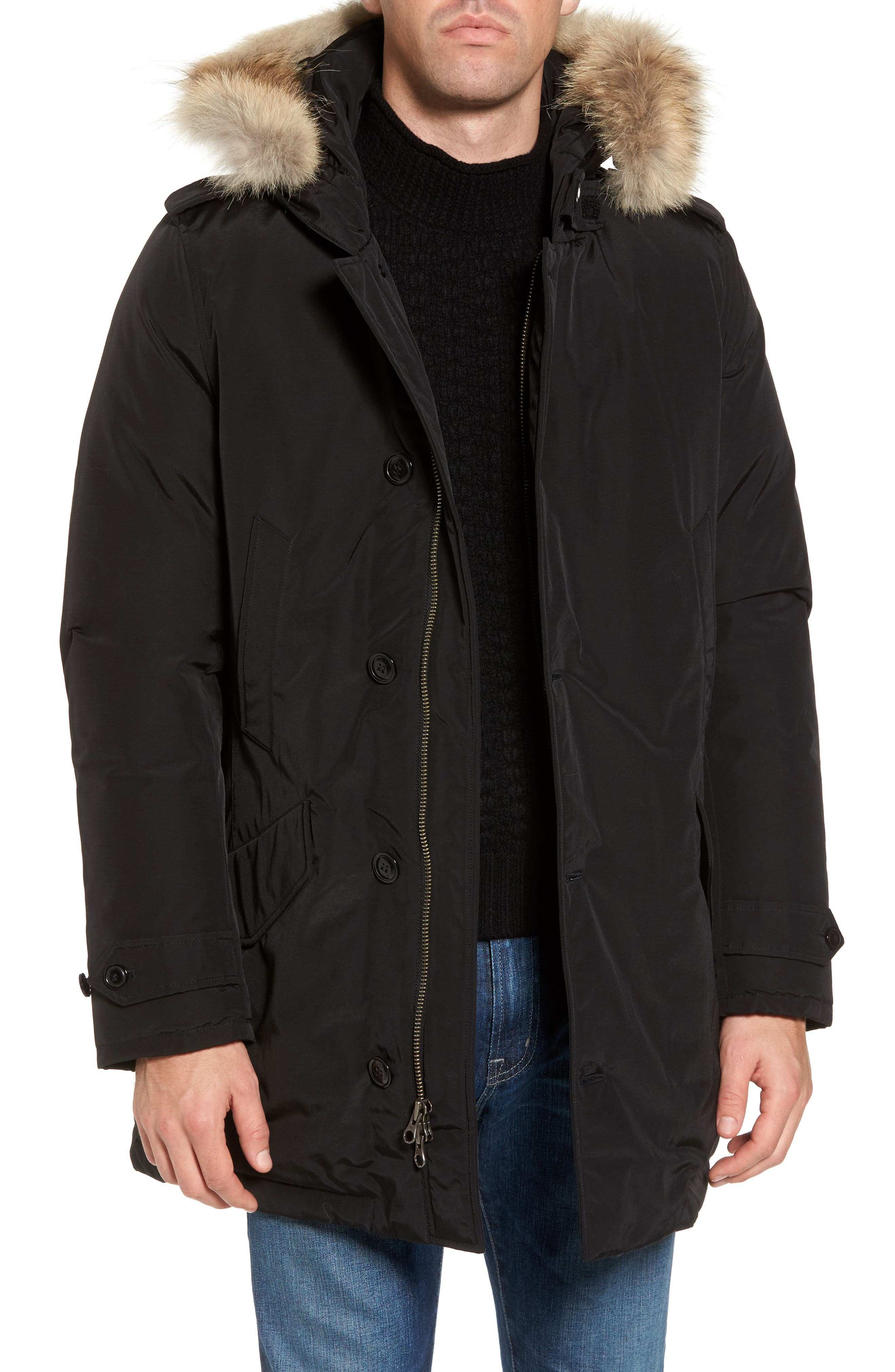John Rich & Bros. Polar Down Parka with Genuine Coyote Fur Trim,                         Main,                         color, 001