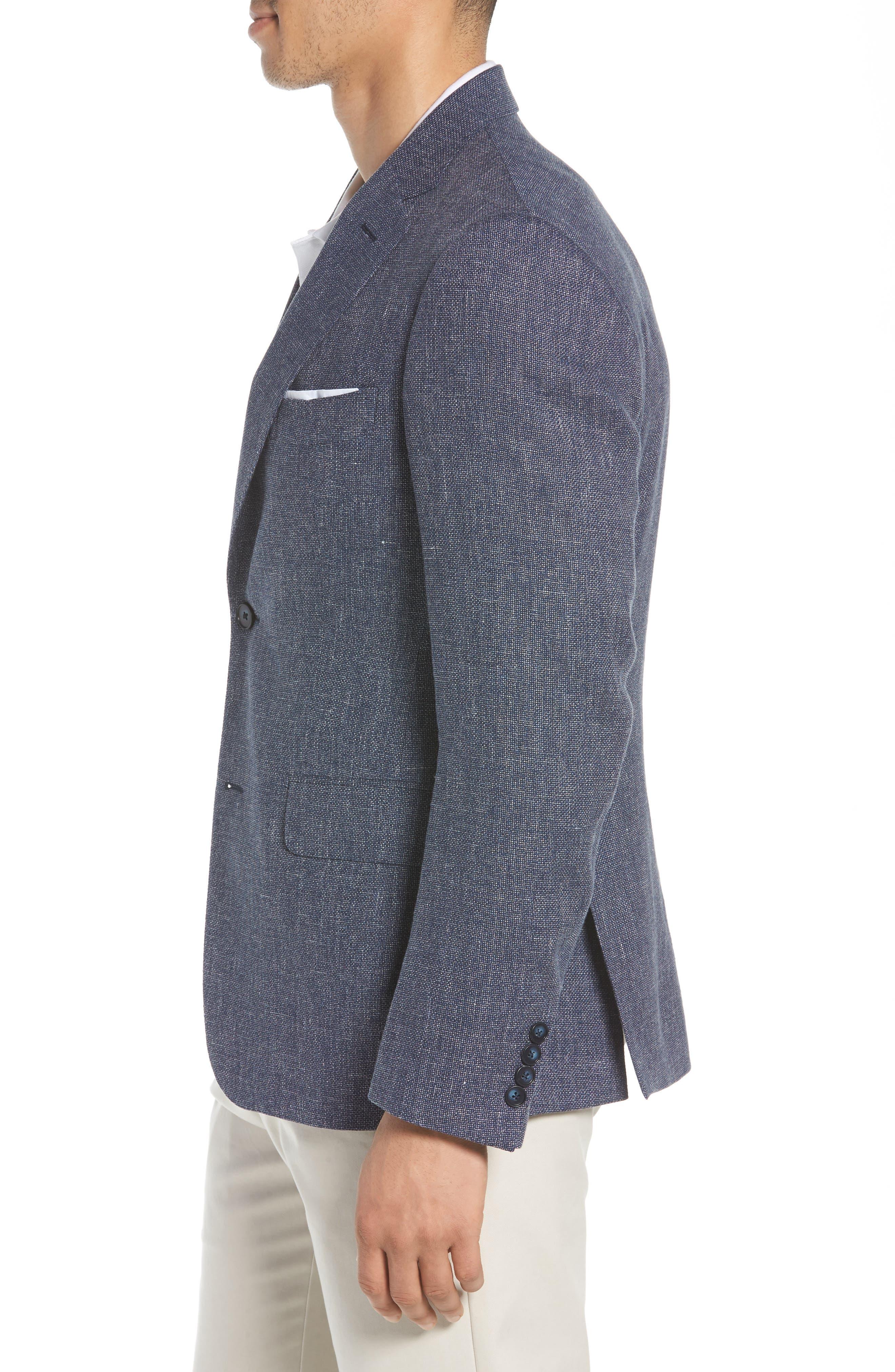 Traditional Fit Mélange Wool & Linen Sport Coat,                             Alternate thumbnail 3, color,