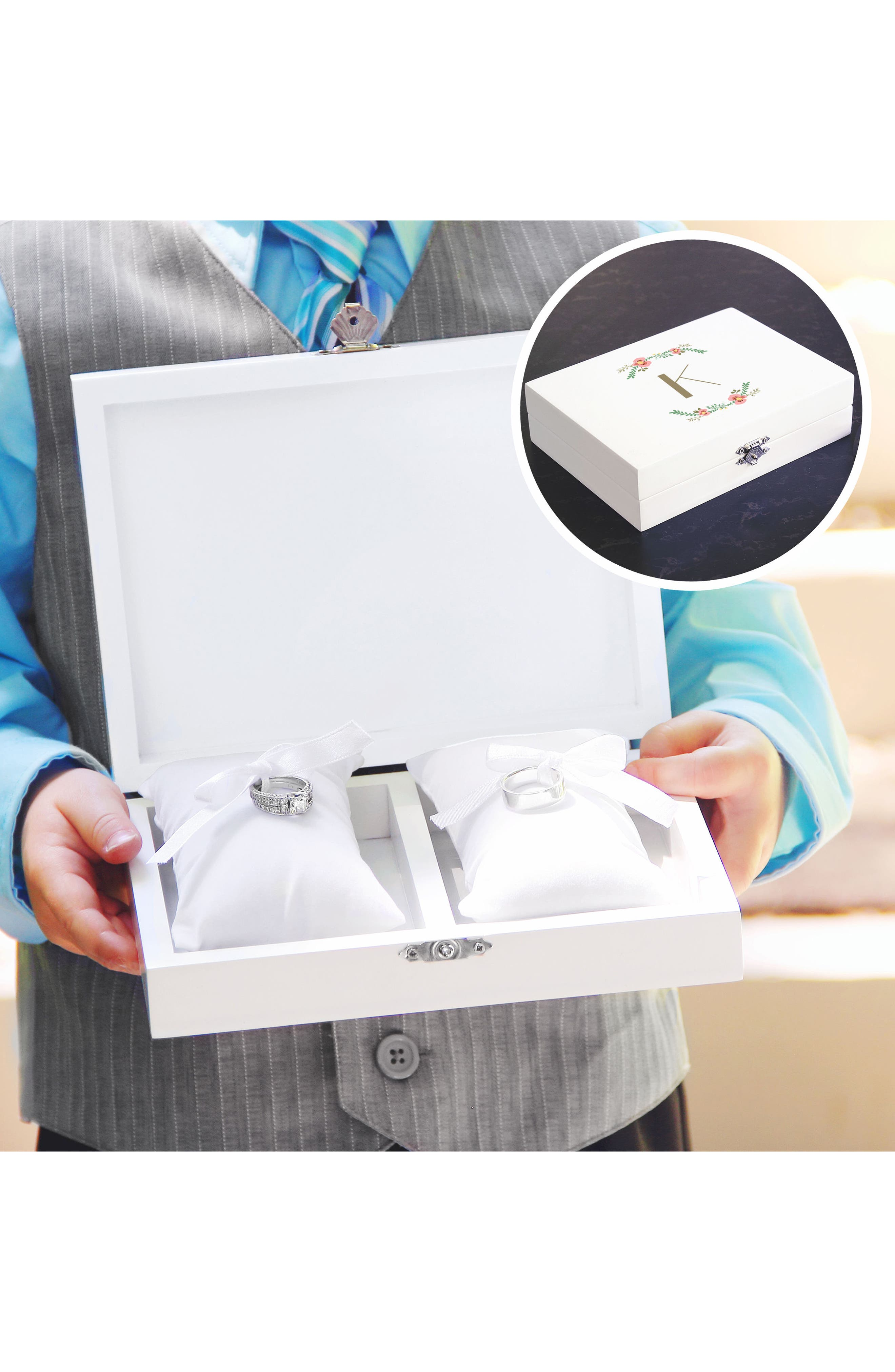 Monogram Floral Wedding Ring Box,                             Alternate thumbnail 29, color,