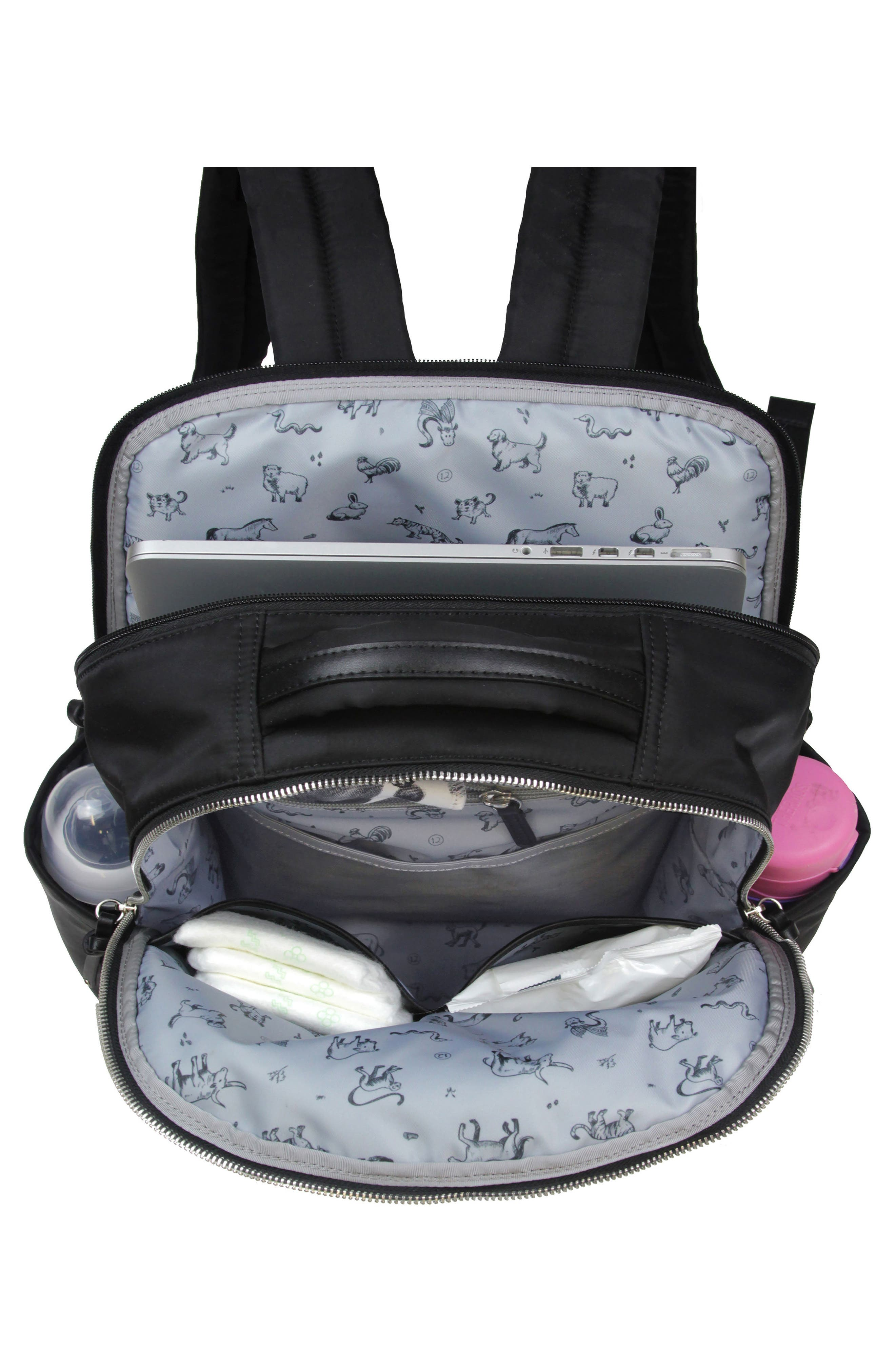 On-the-Go Water Resistant Diaper Backpack,                             Alternate thumbnail 3, color,                             BLACK