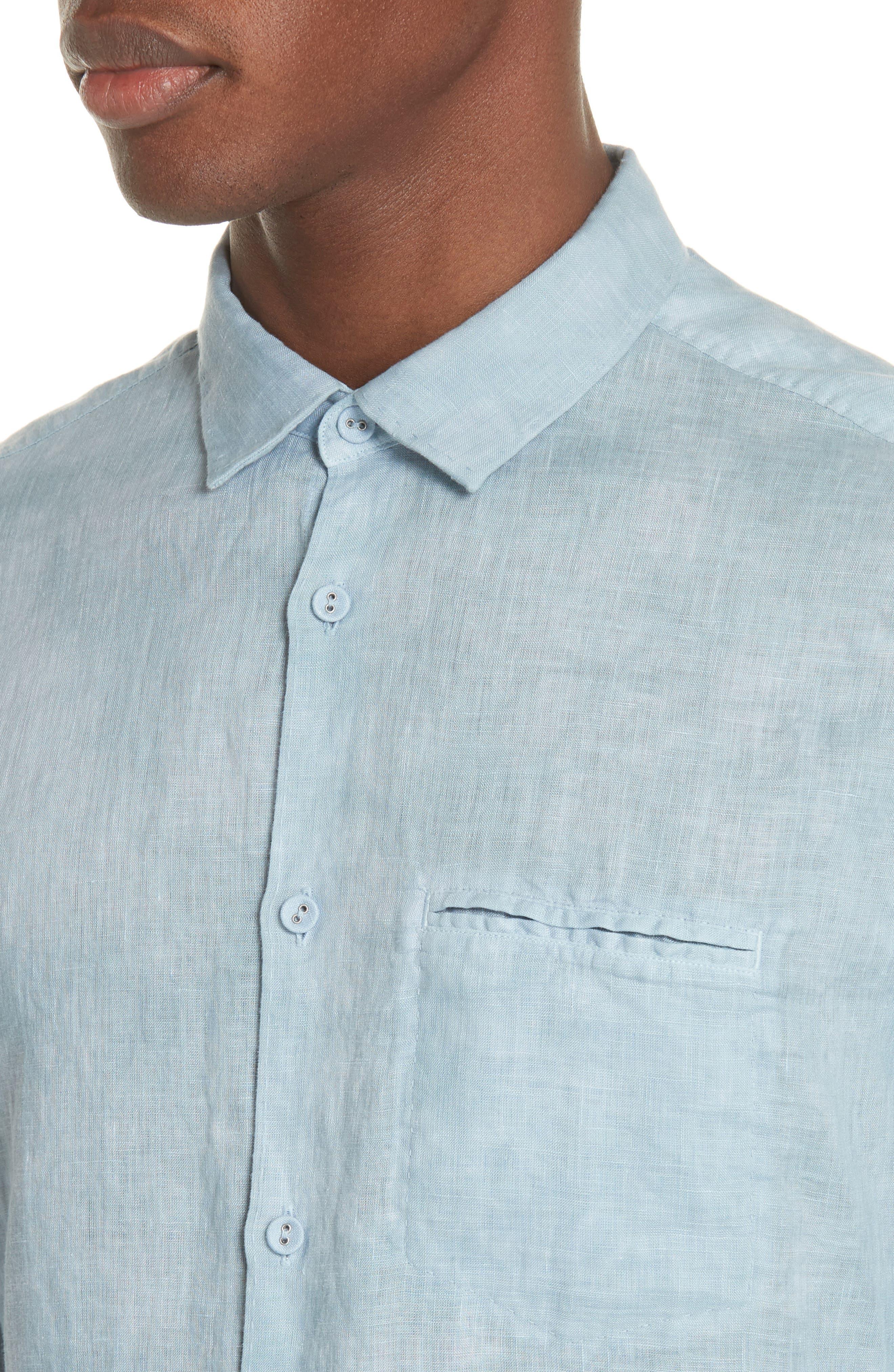 Linen Sport Shirt,                             Alternate thumbnail 4, color,                             SKY BLUE