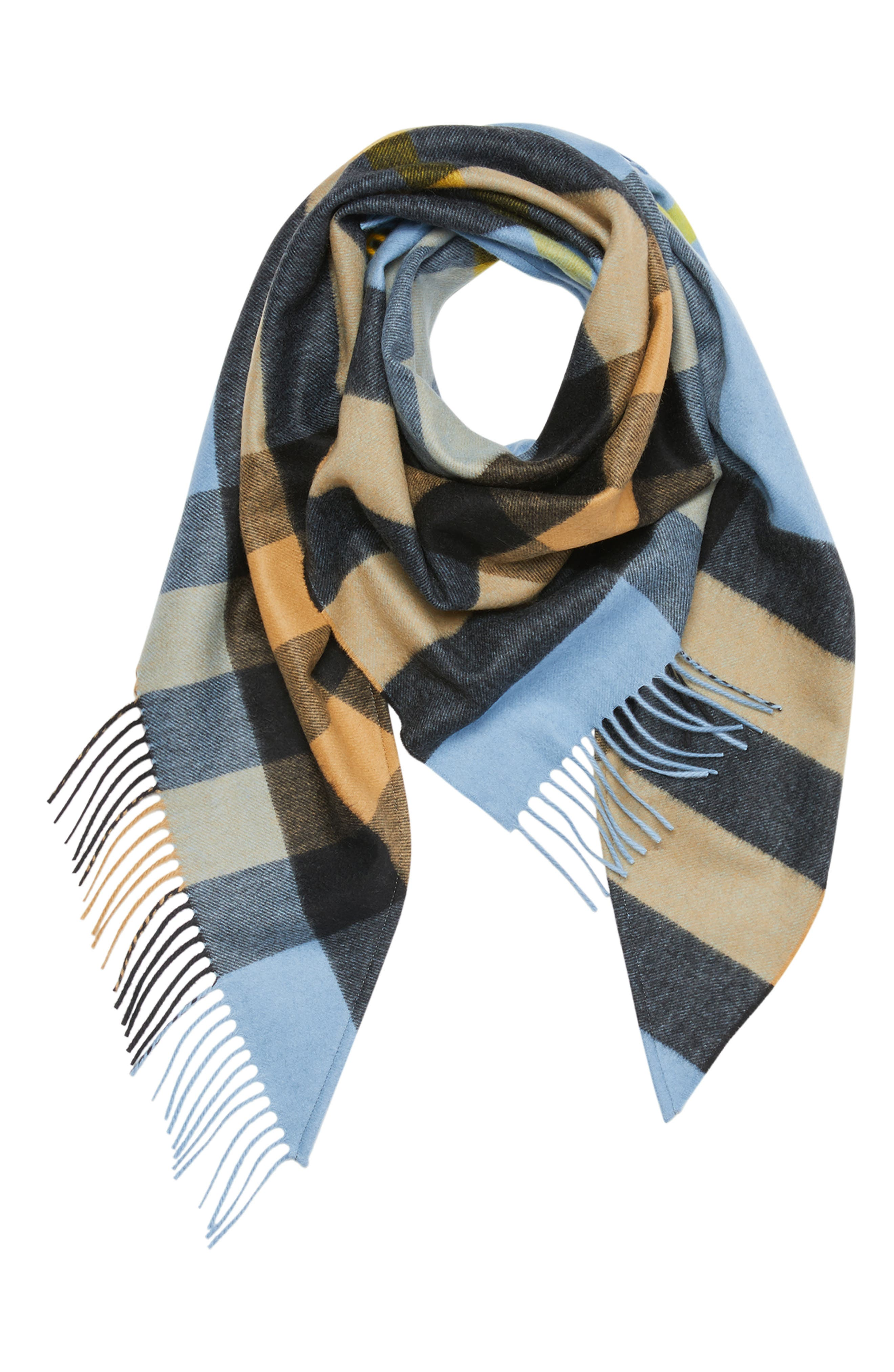BURBERRY,                             Mega Check Cashmere Scarf,                             Alternate thumbnail 2, color,                             PALE CARBON BLUE