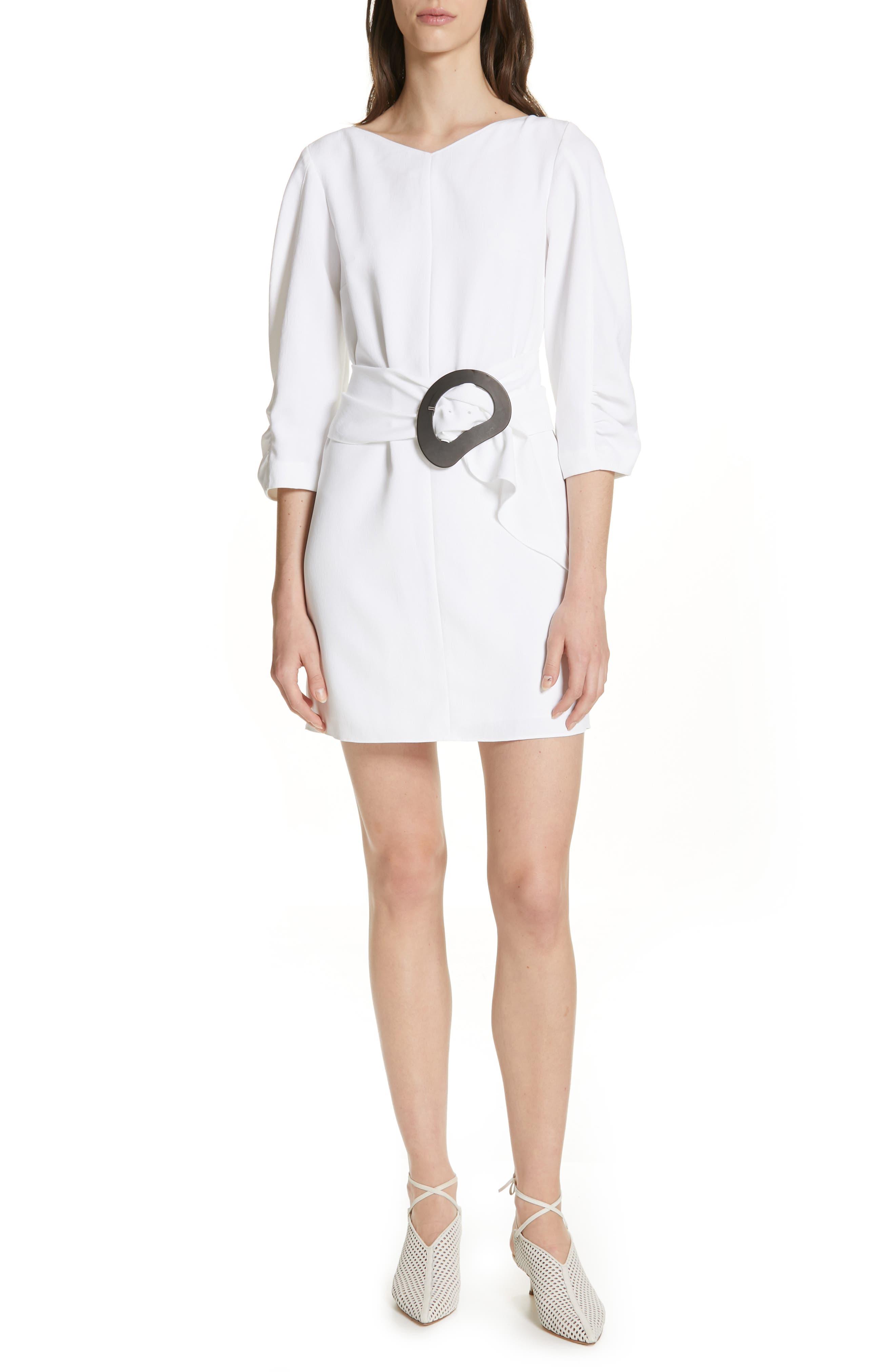 Tibi Shirred Sleeve Drape Twill Dress, White