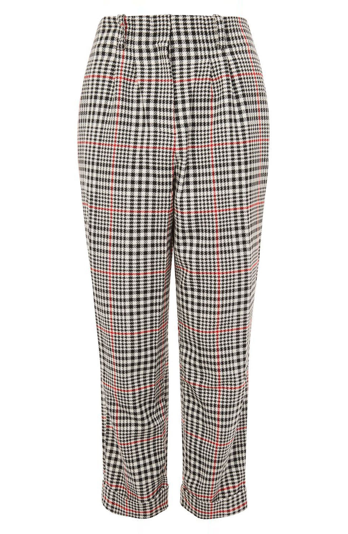 Red Pop Check High Waist Mensy Trousers,                             Alternate thumbnail 3, color,                             001