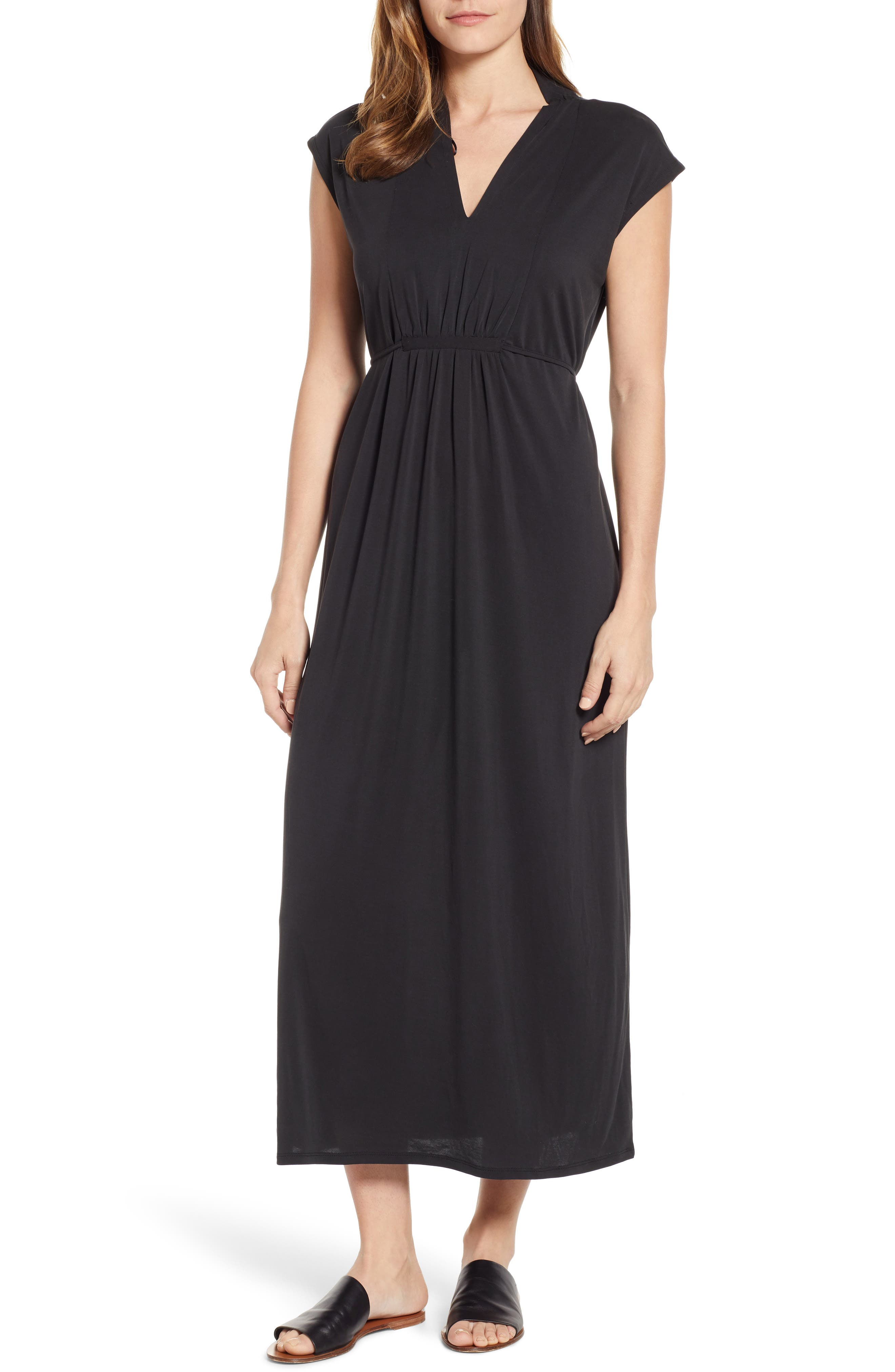 Vince Camuto Cap Sleeve Jersey Maxi Dress, Black