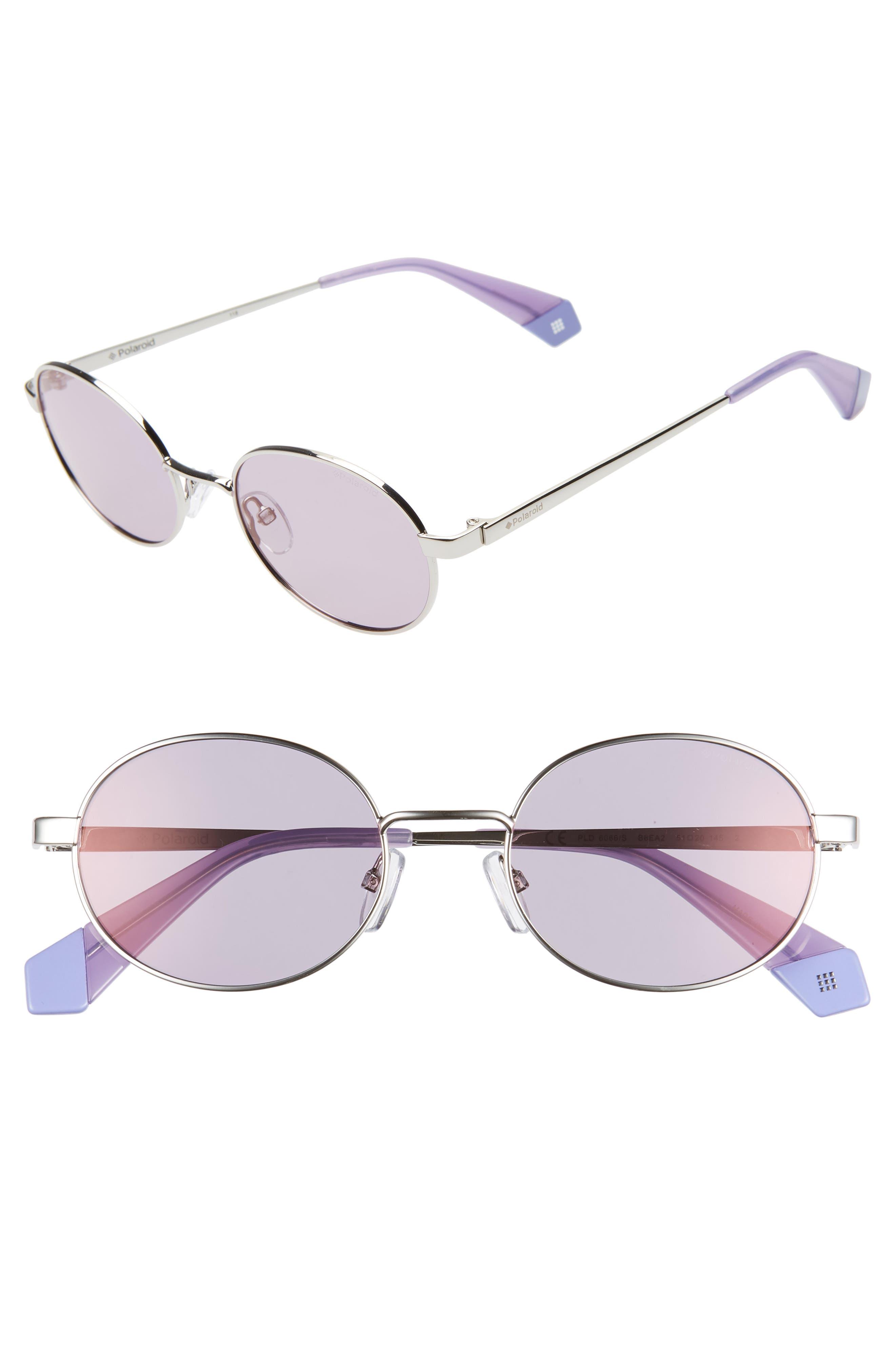 Polaroid 51Mm Polarized Round Sunglasses - Silver/ Lilac