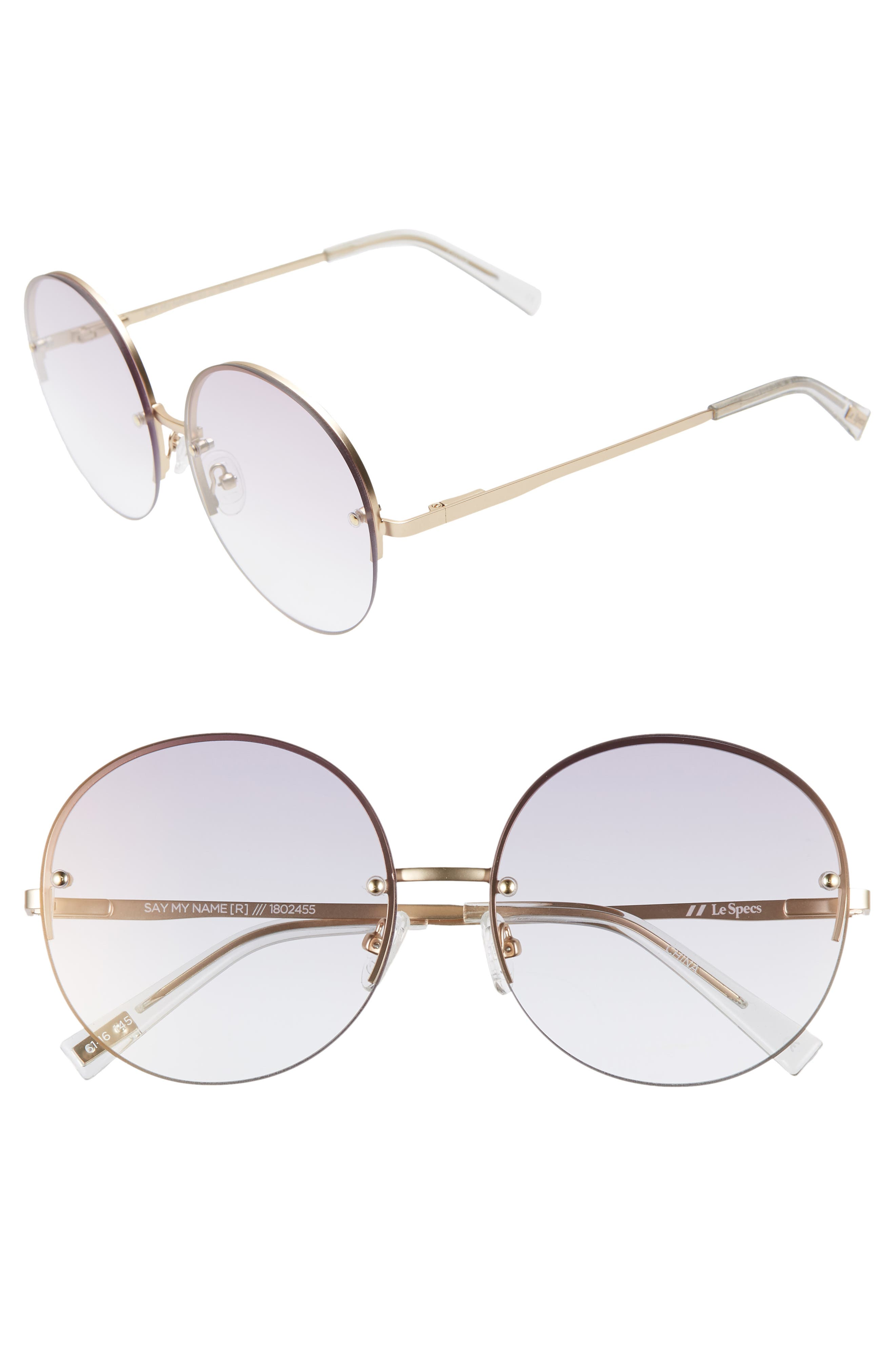 Le Specs Say My Name 61Mm Semi Rimless Round Sunglasses - Vegas Gold