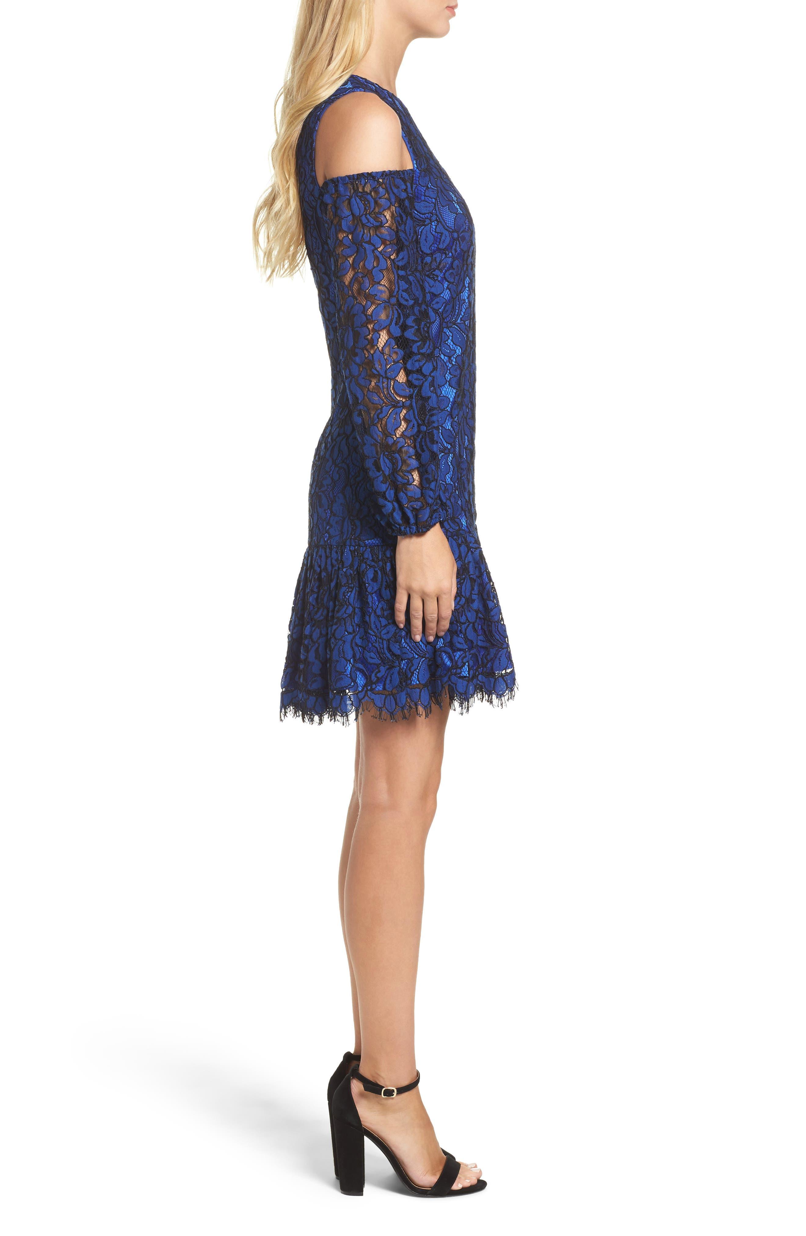 Lace Cold Shoulder Dress,                             Alternate thumbnail 3, color,                             430