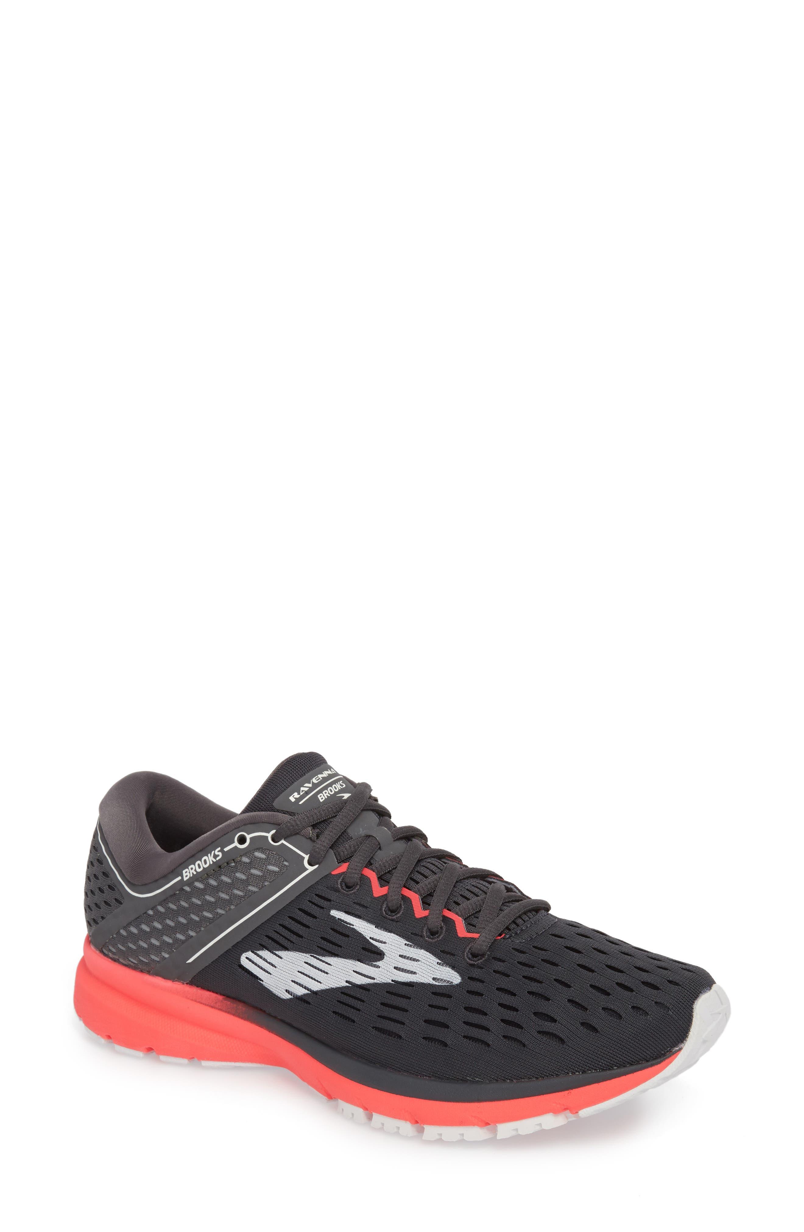 Ravenna 9 Running Shoe,                             Main thumbnail 1, color,                             EBONY/ DIVA PINK/ WHITE