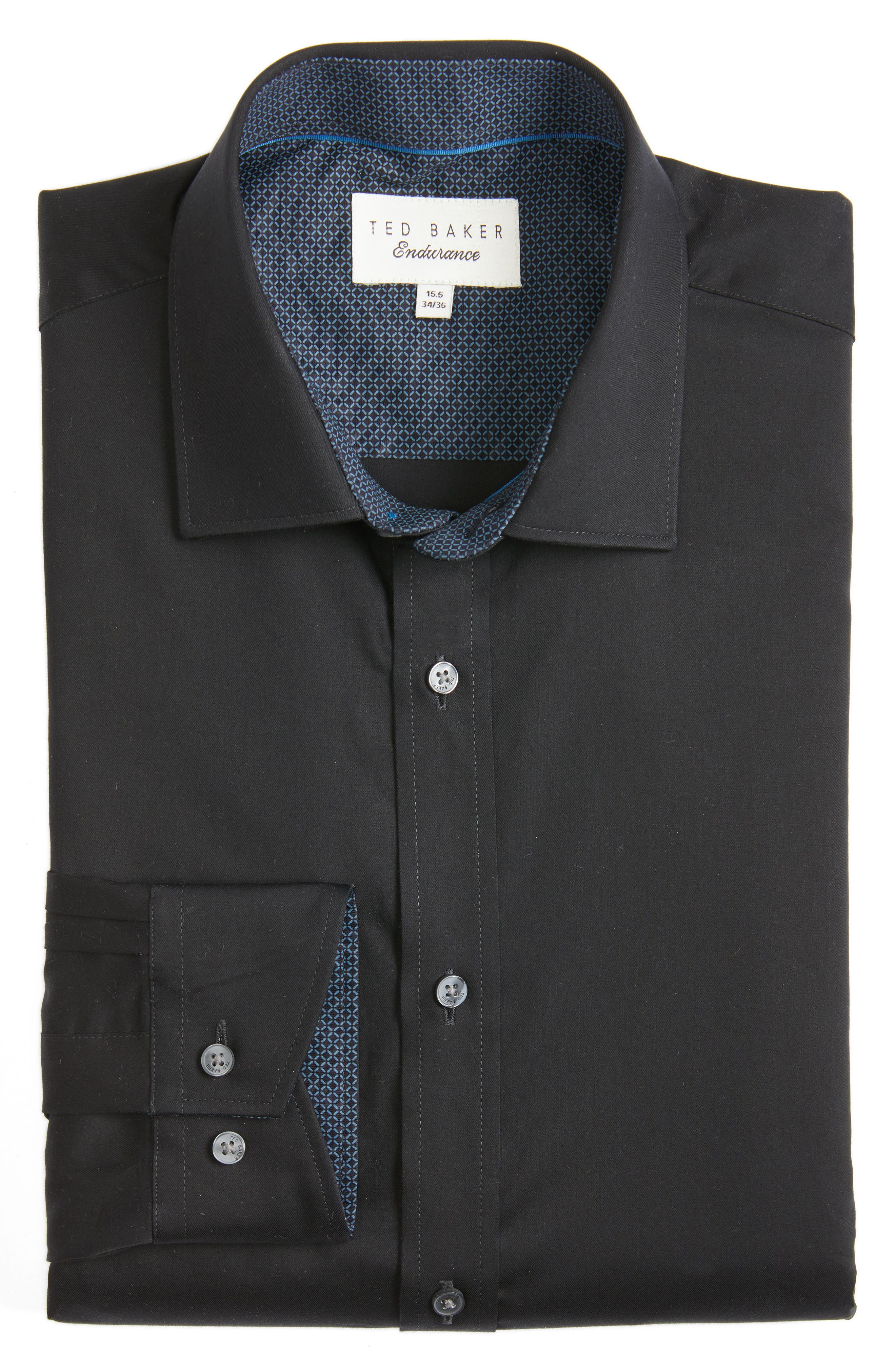 TED BAKER LONDON,                             Caramor Trim Fit Solid Dress Shirt,                             Alternate thumbnail 3, color,                             001