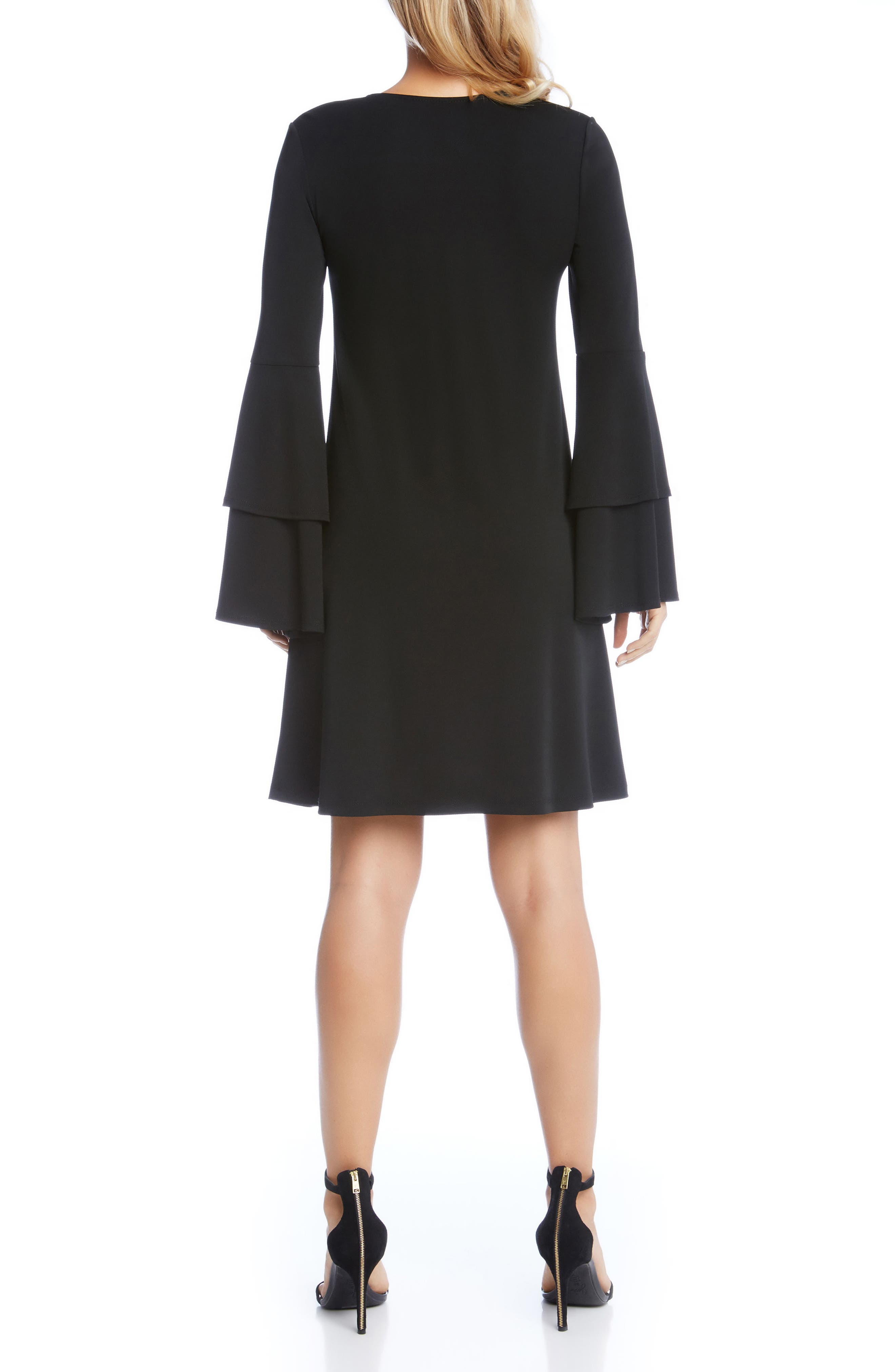 Tiered Bell Sleeve A-Line Dress,                             Alternate thumbnail 2, color,                             001