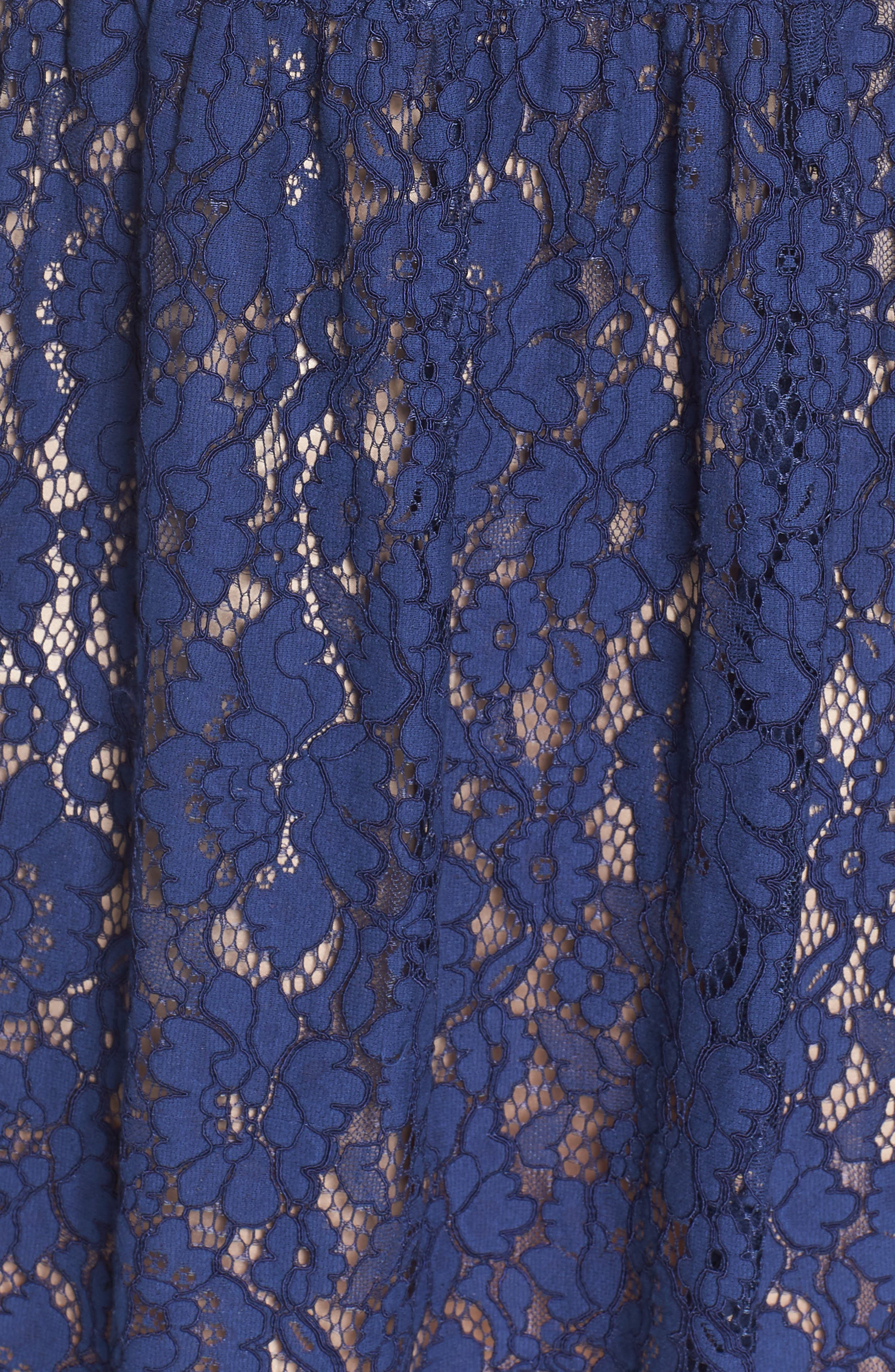 Lace Fit & Flare Dress,                             Alternate thumbnail 6, color,                             NAVY