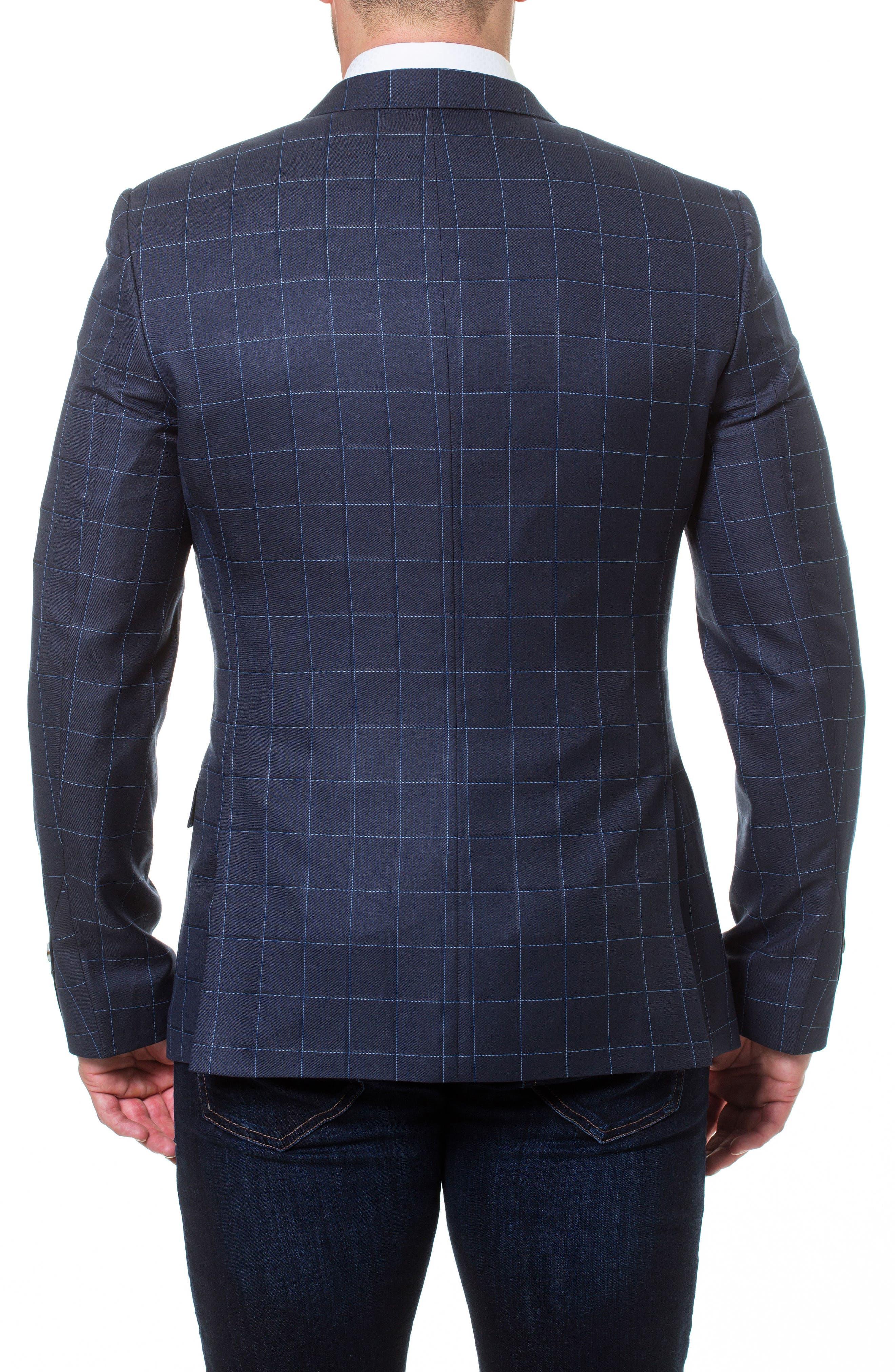 Descartes Check Linen & Cotton Blend Sport Coat,                             Alternate thumbnail 2, color,