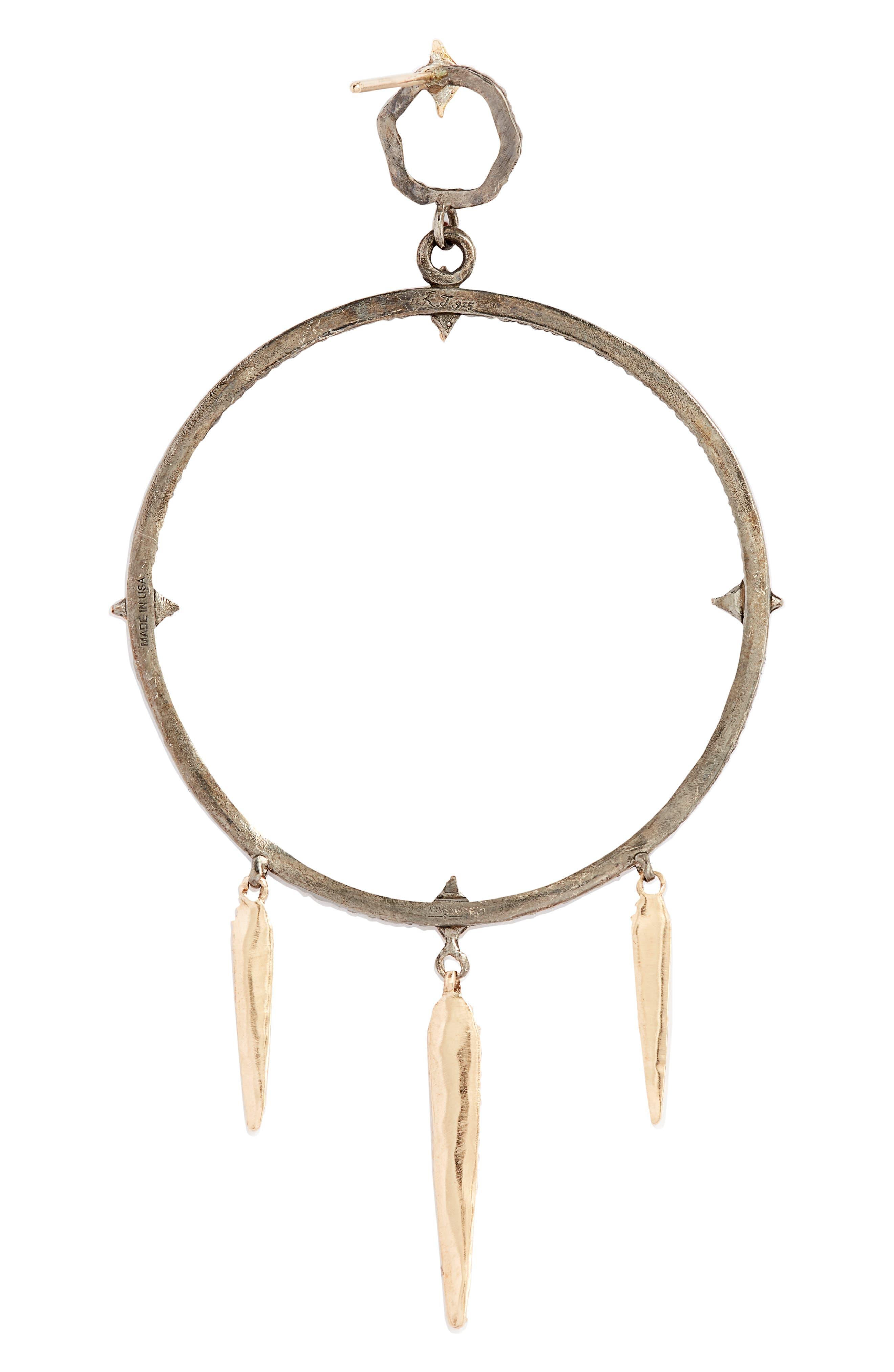 New World Large Circle Dagger Earrings,                             Alternate thumbnail 3, color,                             GOLD/ BLACKENED SILVER