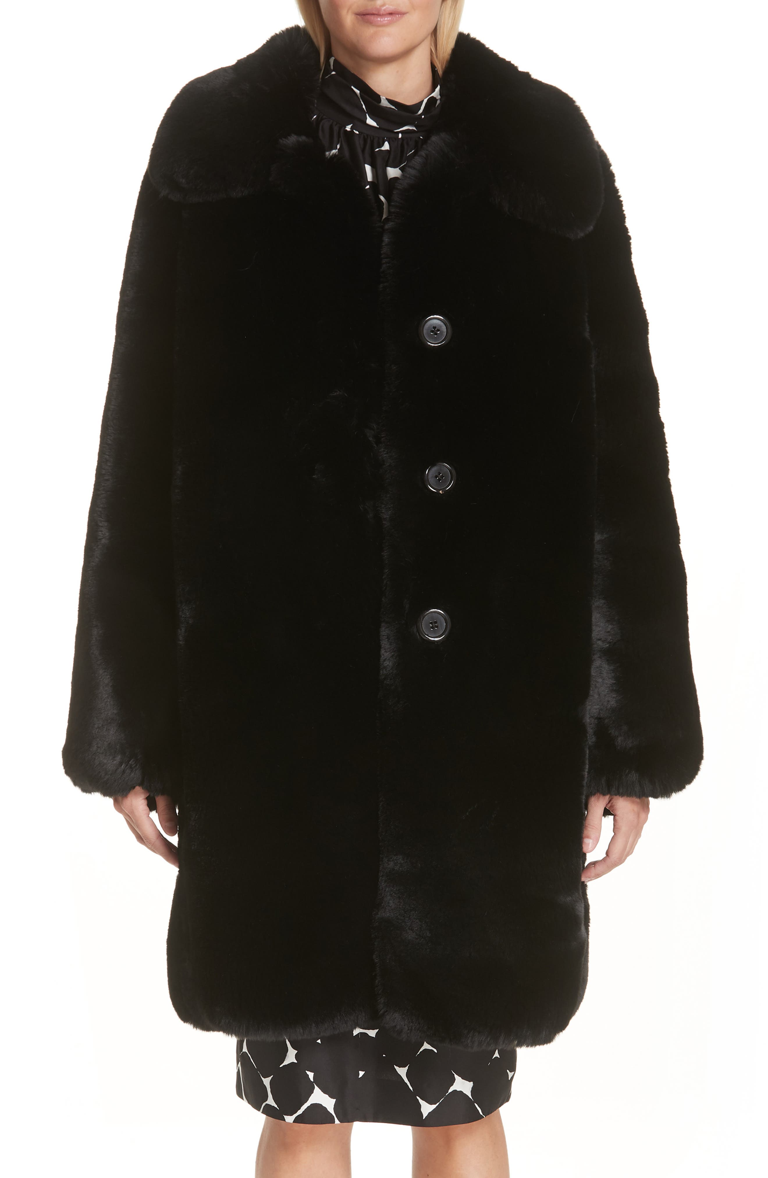 Faux Fur Coat,                             Alternate thumbnail 2, color,                             001
