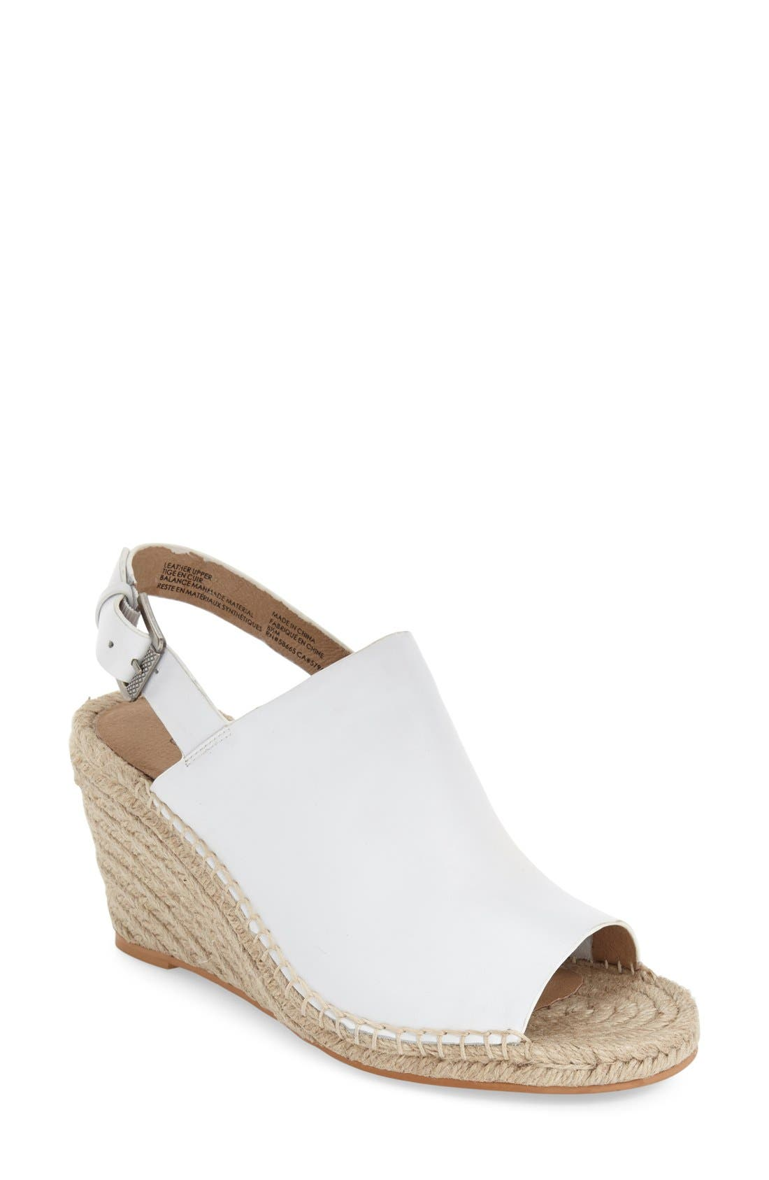 Sutton Slingback Sandal,                         Main,                         color, WHITE LEATHER