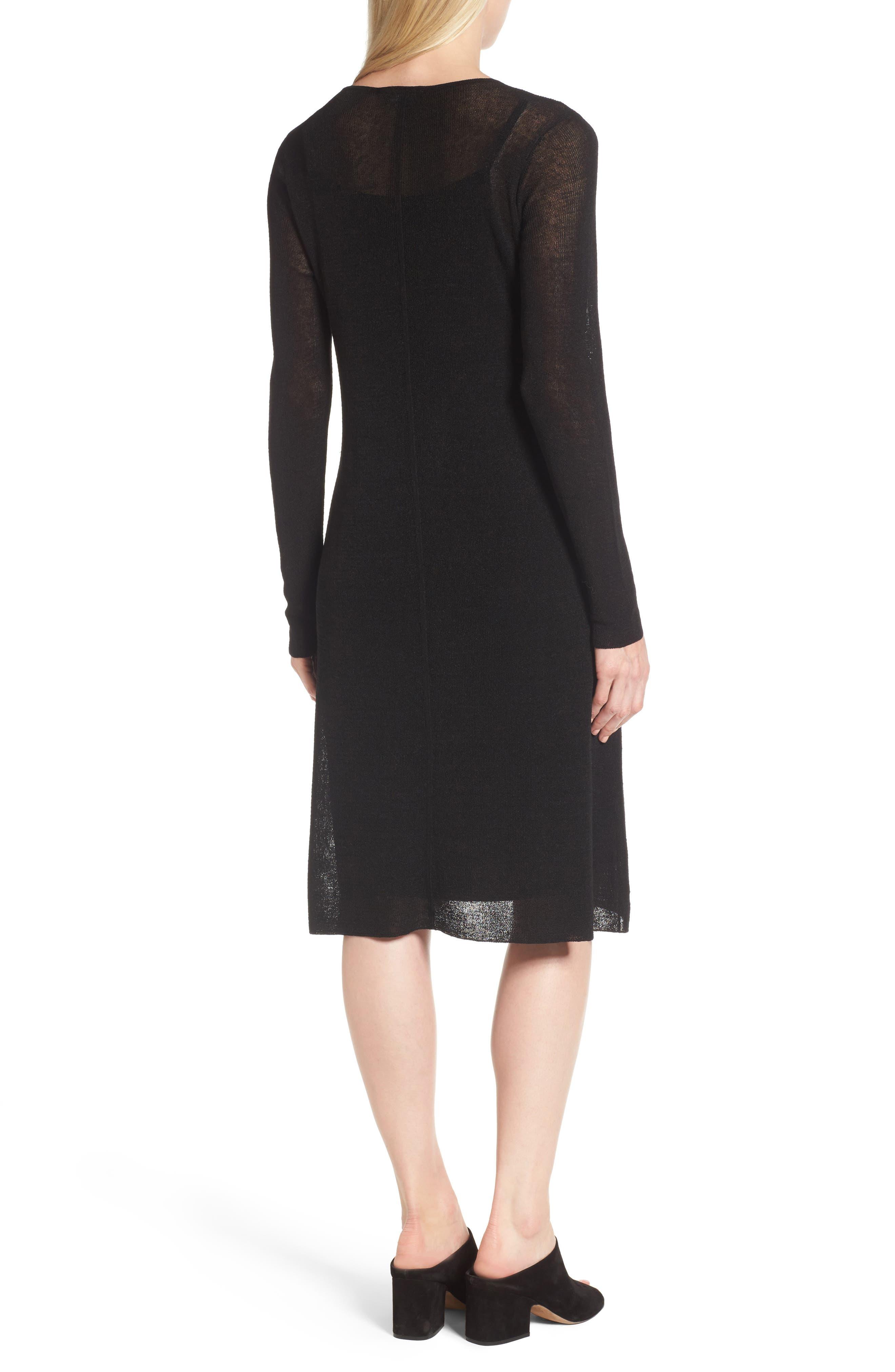 Organic Linen Blend A-Line Dress,                             Alternate thumbnail 2, color,                             001