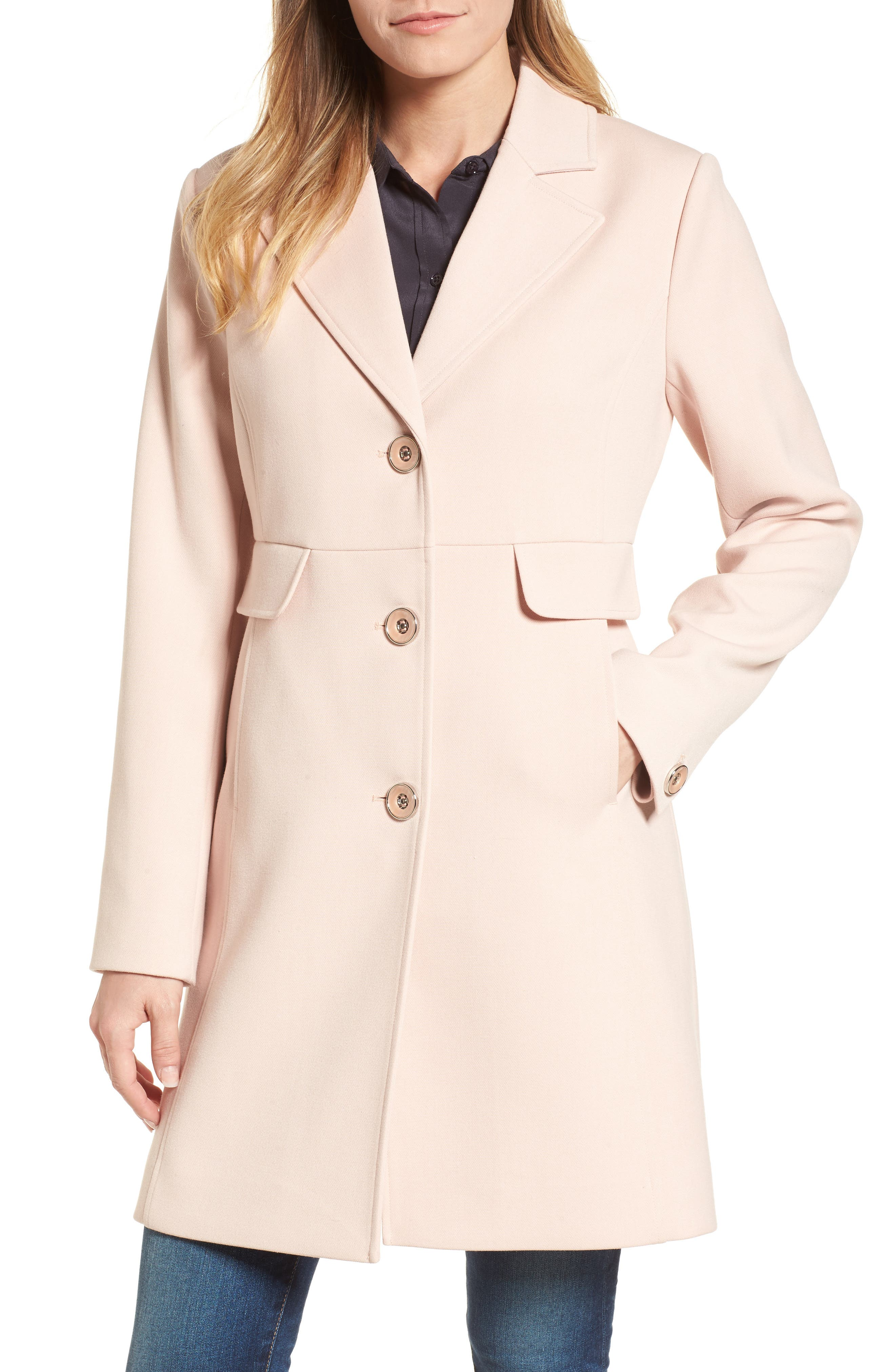 Kenneth Cole A-Line Ponte Coat,                         Main,                         color, 671