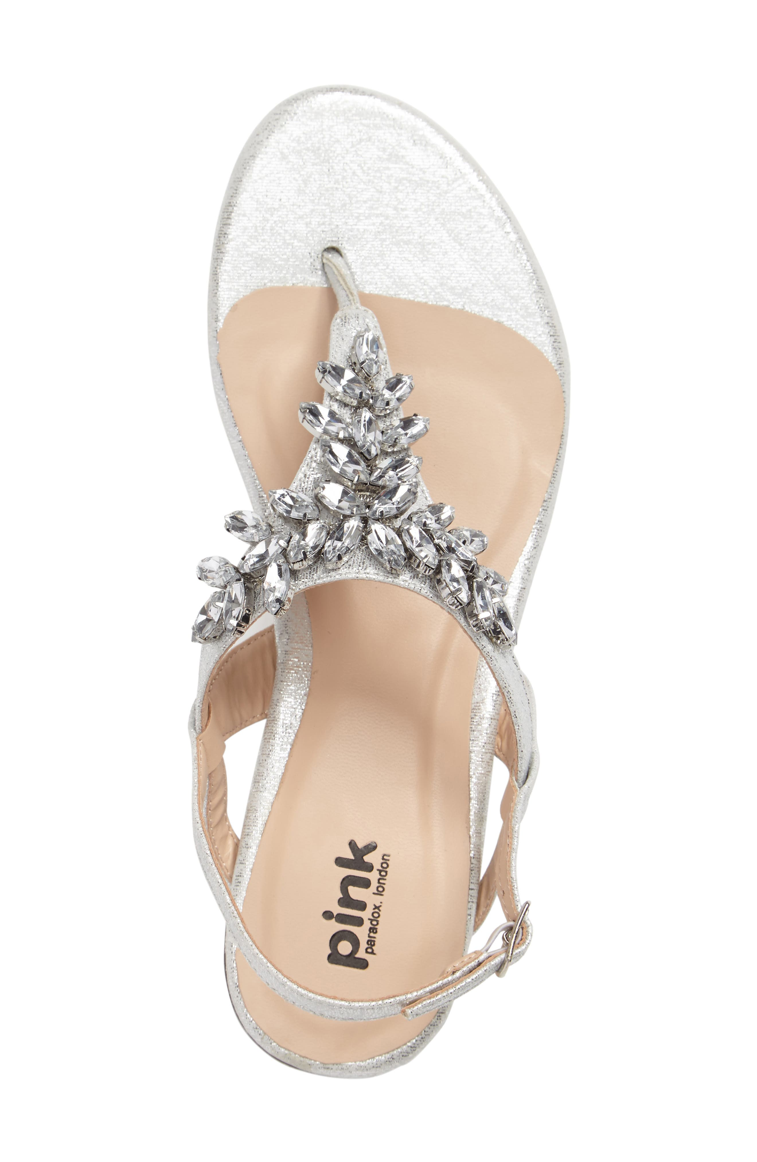 Flame Crystal Embellished Sandal,                             Alternate thumbnail 3, color,                             SILVER