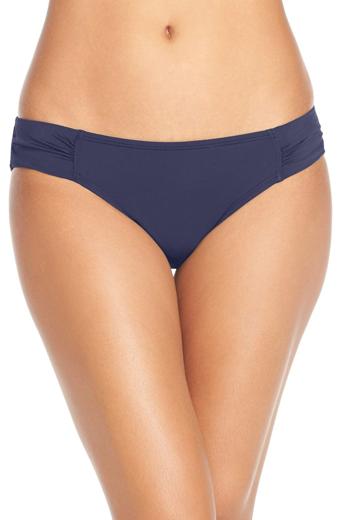 TOMMY BAHAMA Pearl Shirred-Side Solid Hipster Swim Bikini Bottom in Mare Navy